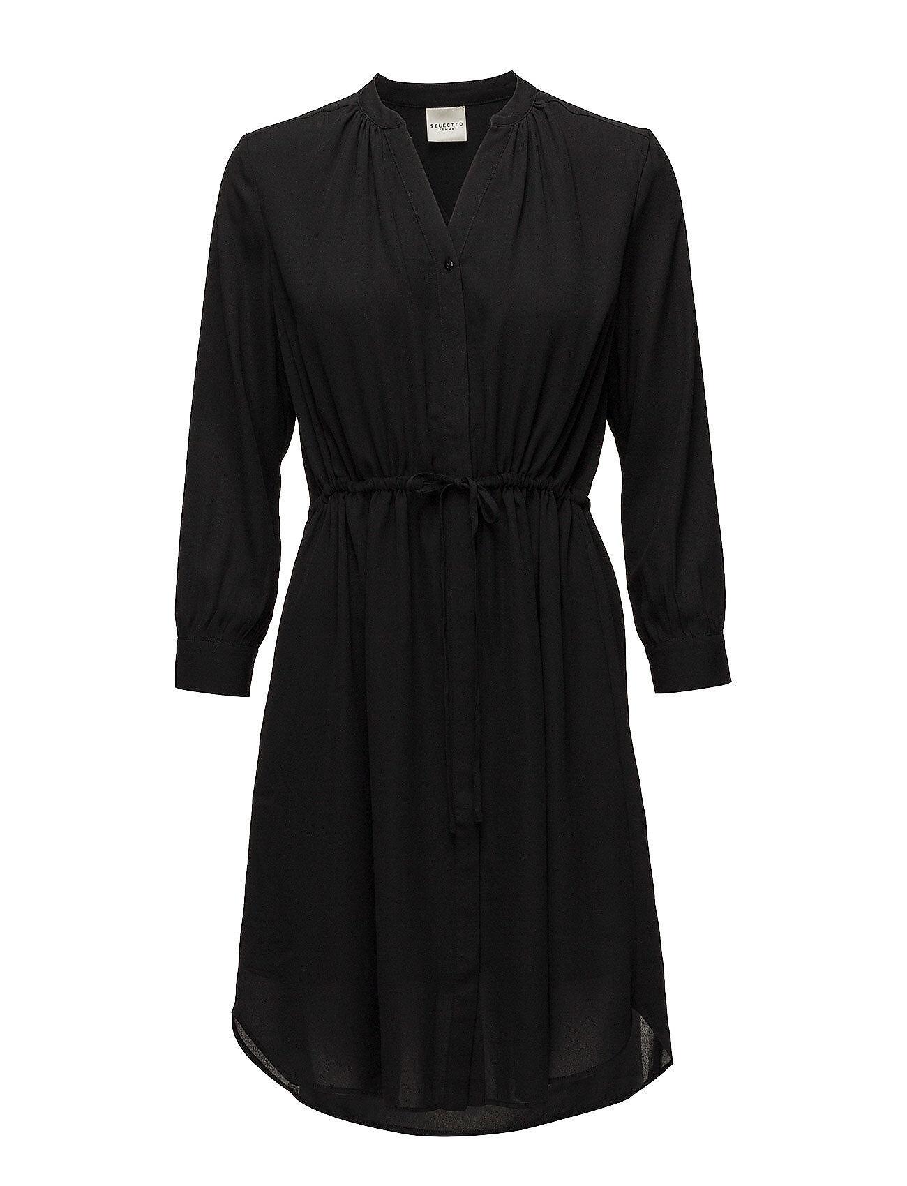 Selected Femme Slfdamina 7/8 Dress B Noos Lyhyt Mekko Musta Selected Femme