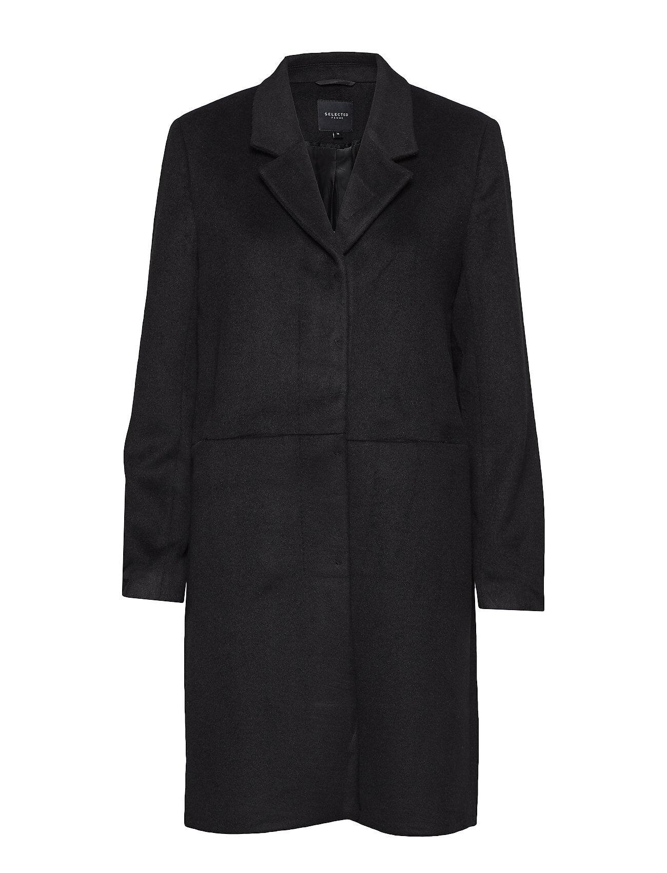 Selected Femme Slfboa Wool Coat B Villakangastakki Pitkä Takki Musta Selected Femme