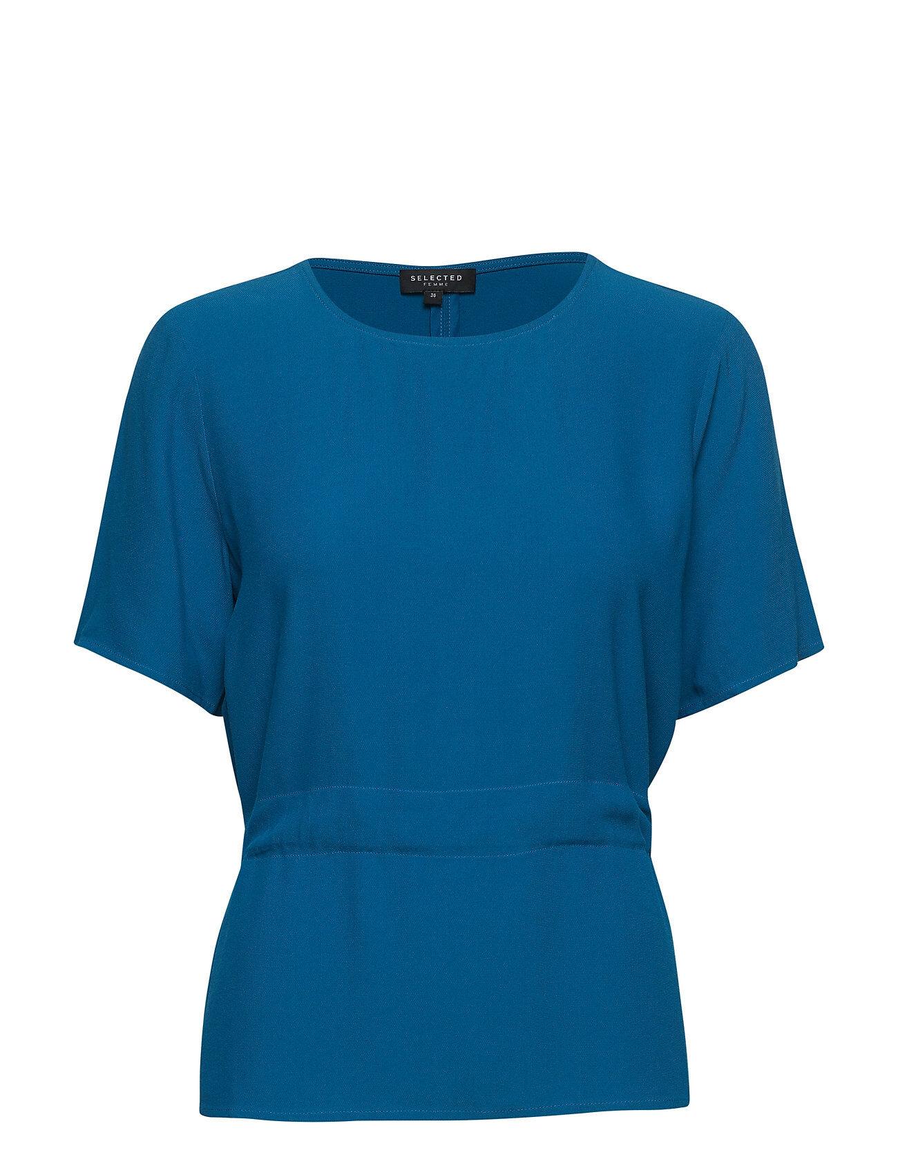 Selected Femme Slftanna Ss Top B T-shirts & Tops Short-sleeved Sininen Selected Femme