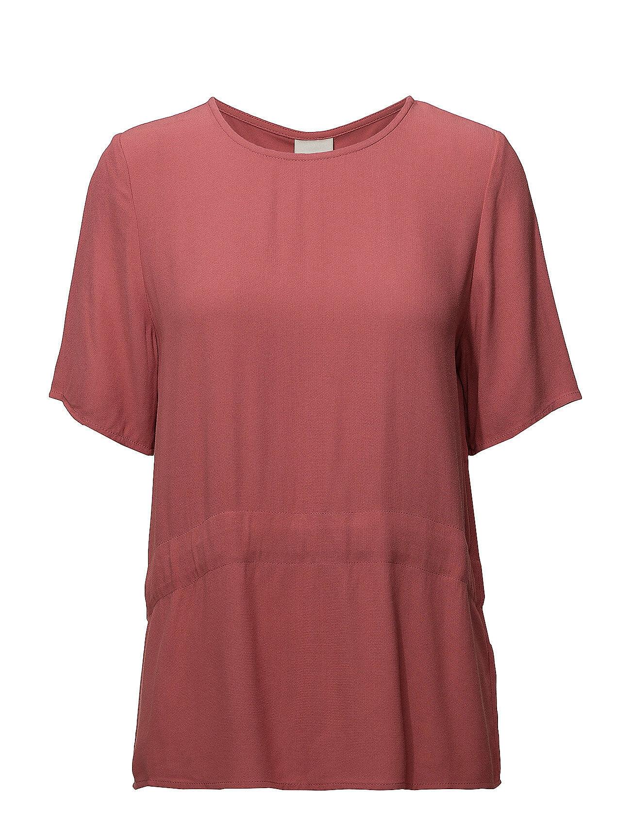 Selected Femme Slftanna Ss Top B T-shirts & Tops Short-sleeved Vaaleanpunainen Selected Femme