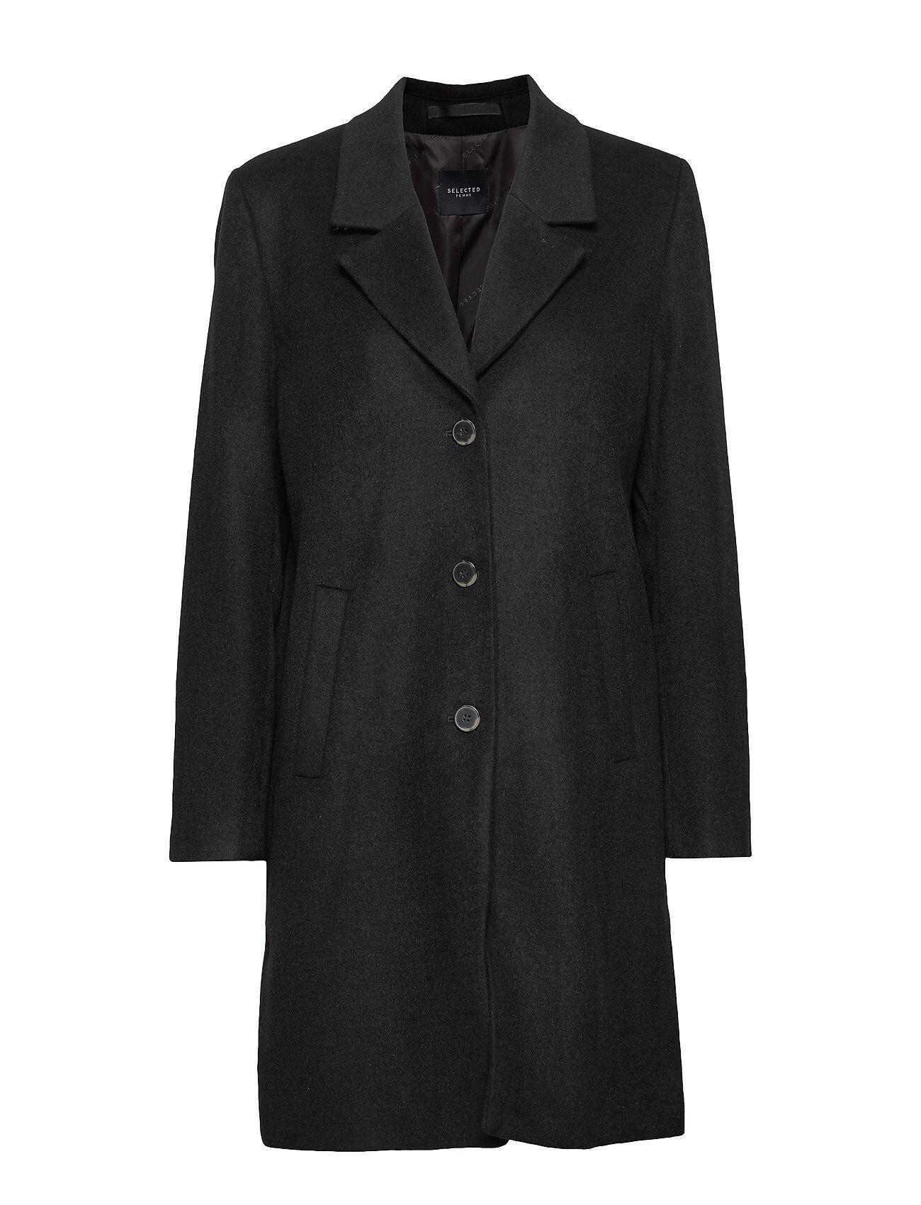 Selected Femme Slfsasja Wool Coat Noos B Villakangastakki Pitkä Takki Musta Selected Femme