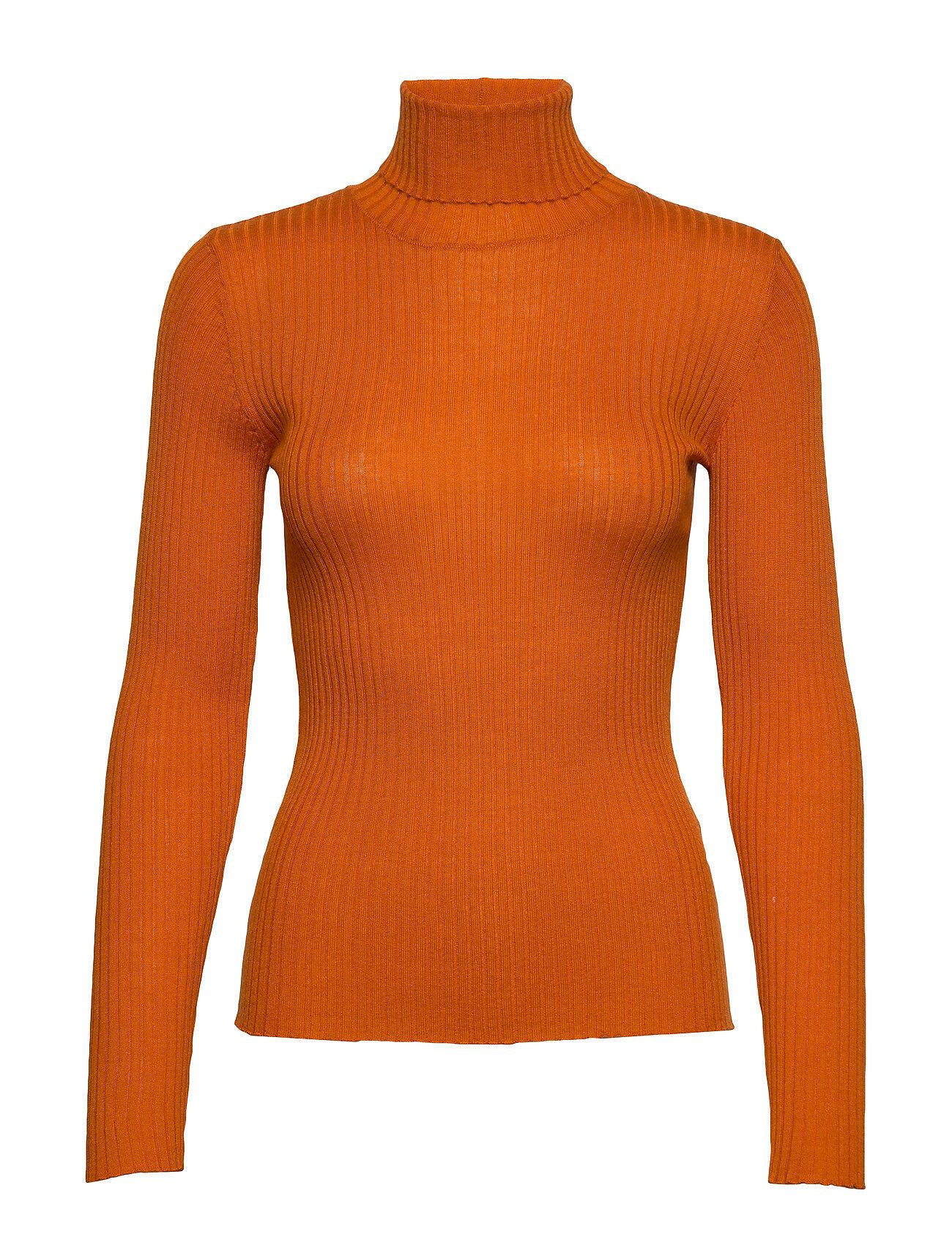 Selected Femme Slfcosta Ls Knit Rib Rollneck B Kilpikonnakaulus Poolopaita Oranssi Selected Femme