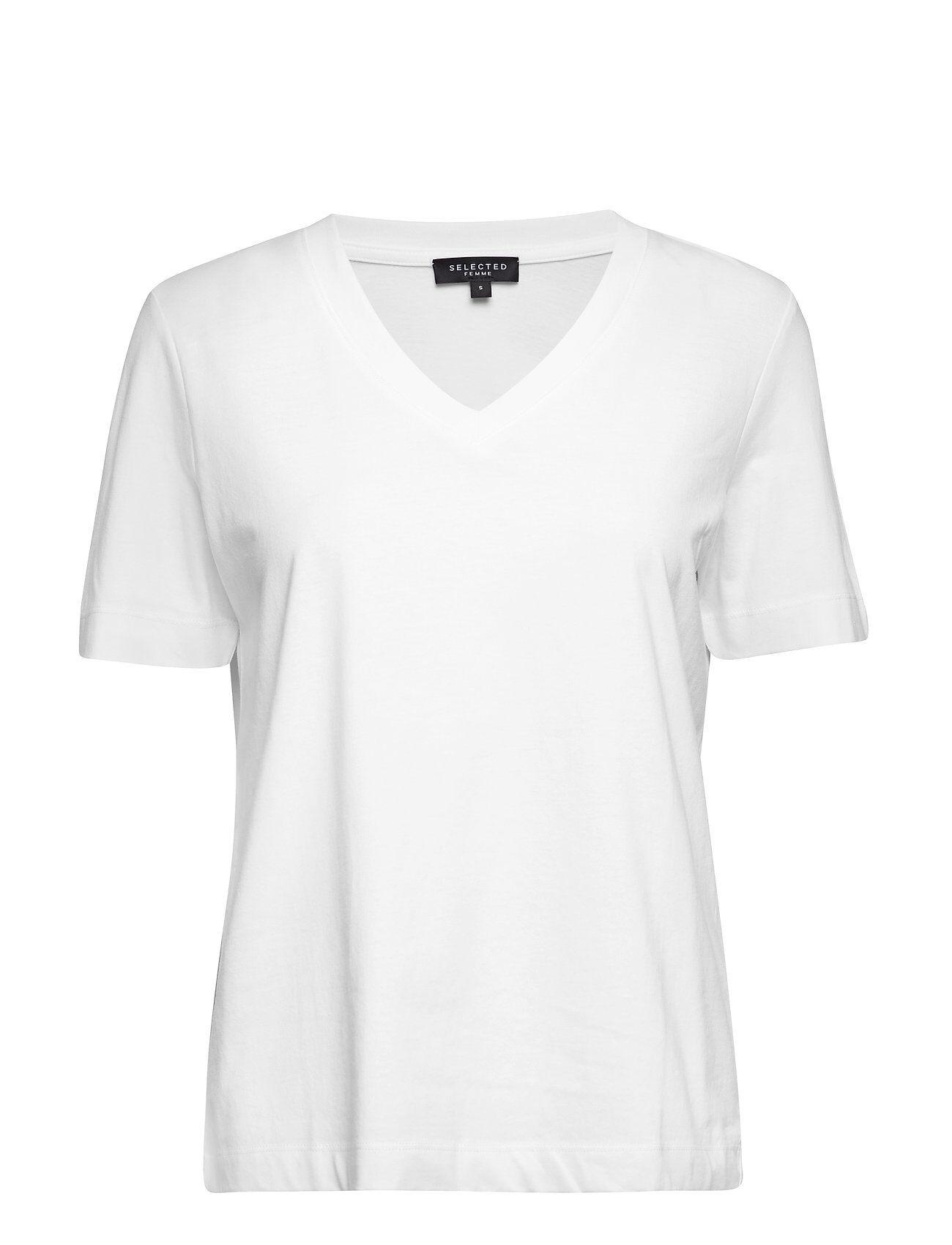 Selected Femme Slfstandard Ss V-Neck Tee Noos T-shirts & Tops Short-sleeved Valkoinen Selected Femme