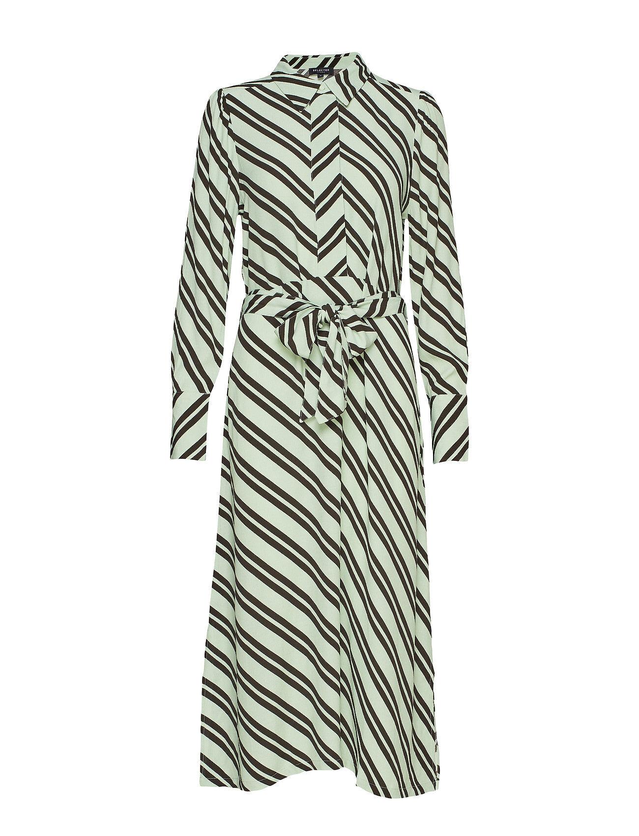Selected Femme Slfpixie-Florenta Ls Midi Dress B Polvipituinen Mekko Vihreä Selected Femme