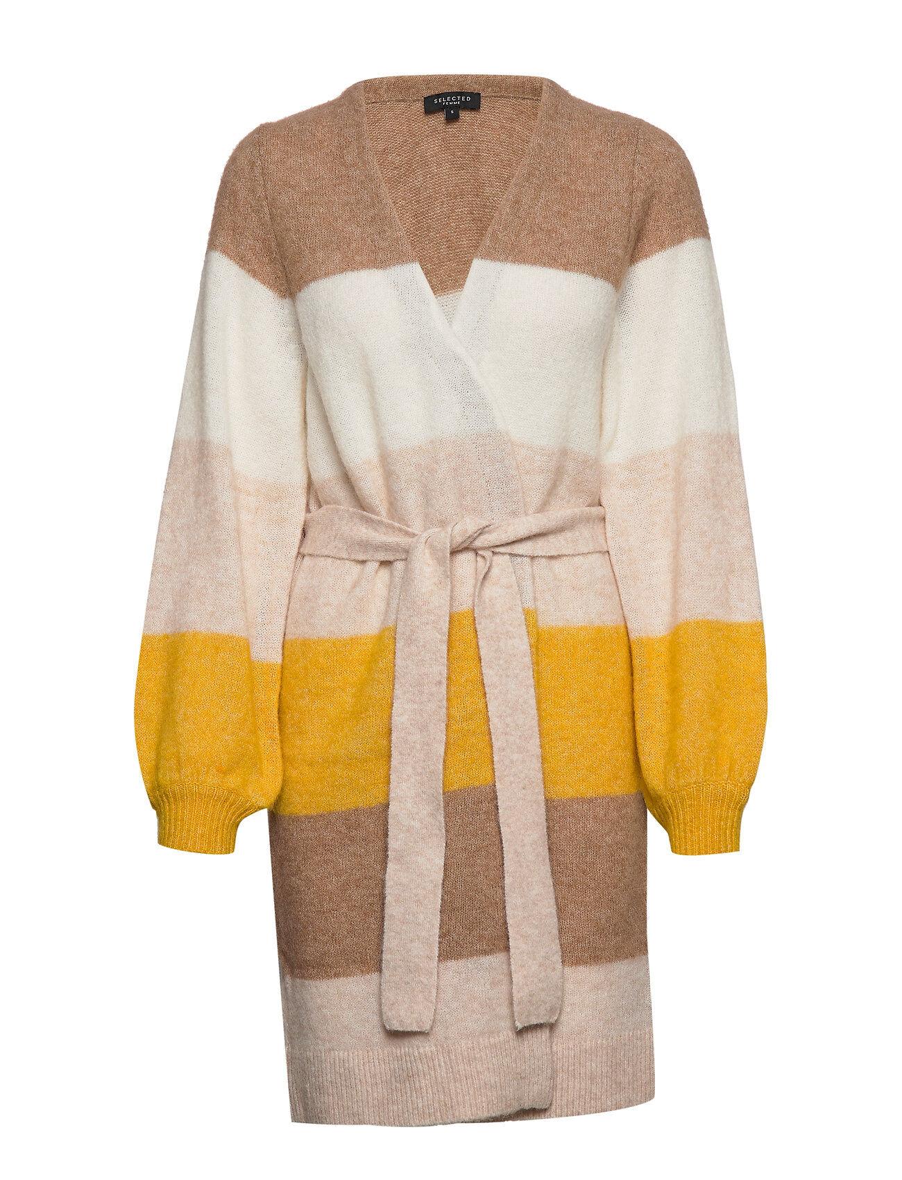Selected Femme Slfanna Ls X-Mas Knit Cardigan B Neuletakki Keltainen Selected Femme
