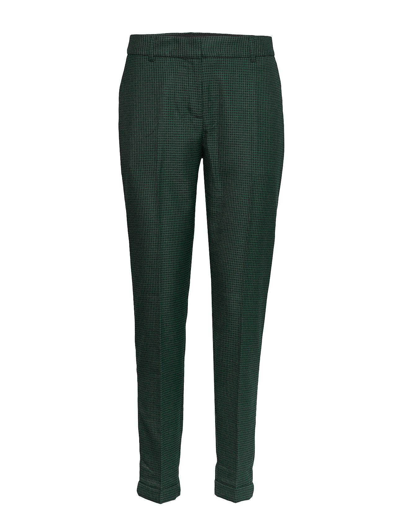 Selected Femme Slfluna Mw Ankle Pant Check B Suoralahkeiset Housut Musta Selected Femme