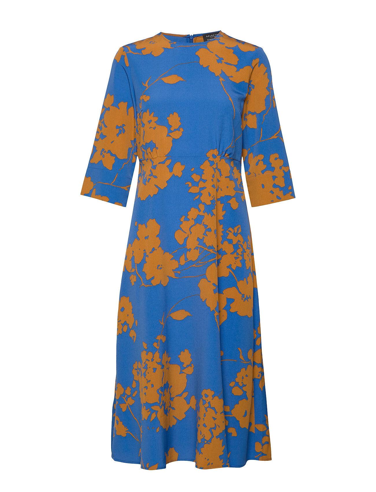 Selected Femme Slfjade-Oriana 3/4 Aop Midi Dress B Polvipituinen Mekko Sininen Selected Femme