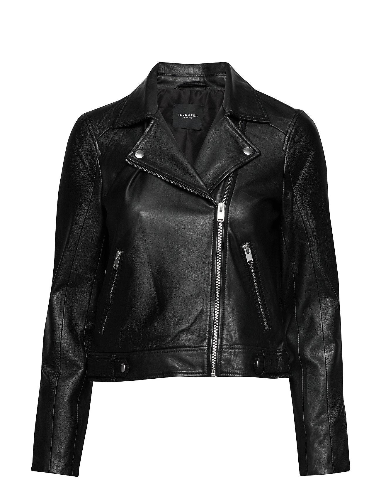 Selected Femme Slfkatie Leather Jacket B Noos Nahkatakki Musta Selected Femme