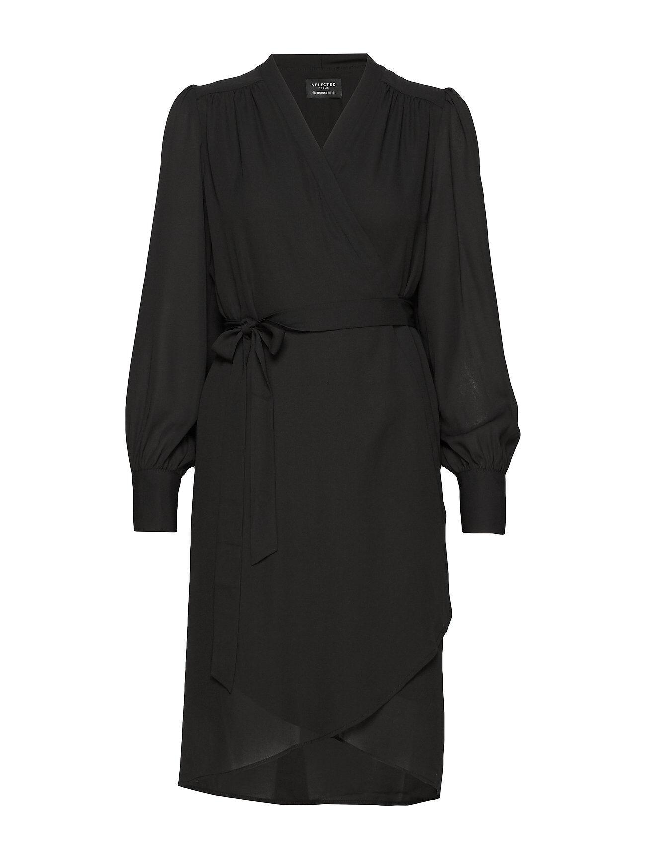 Selected Femme Slfalva Ls Wrap Dress Noos Polvipituinen Mekko Musta Selected Femme