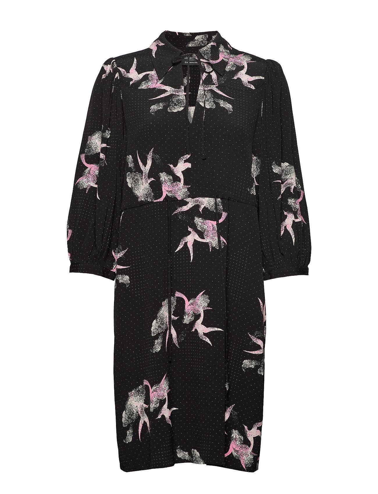 Selected Femme Slfallison-Damina 3/4 Aop Short Dress B Polvipituinen Mekko Musta Selected Femme