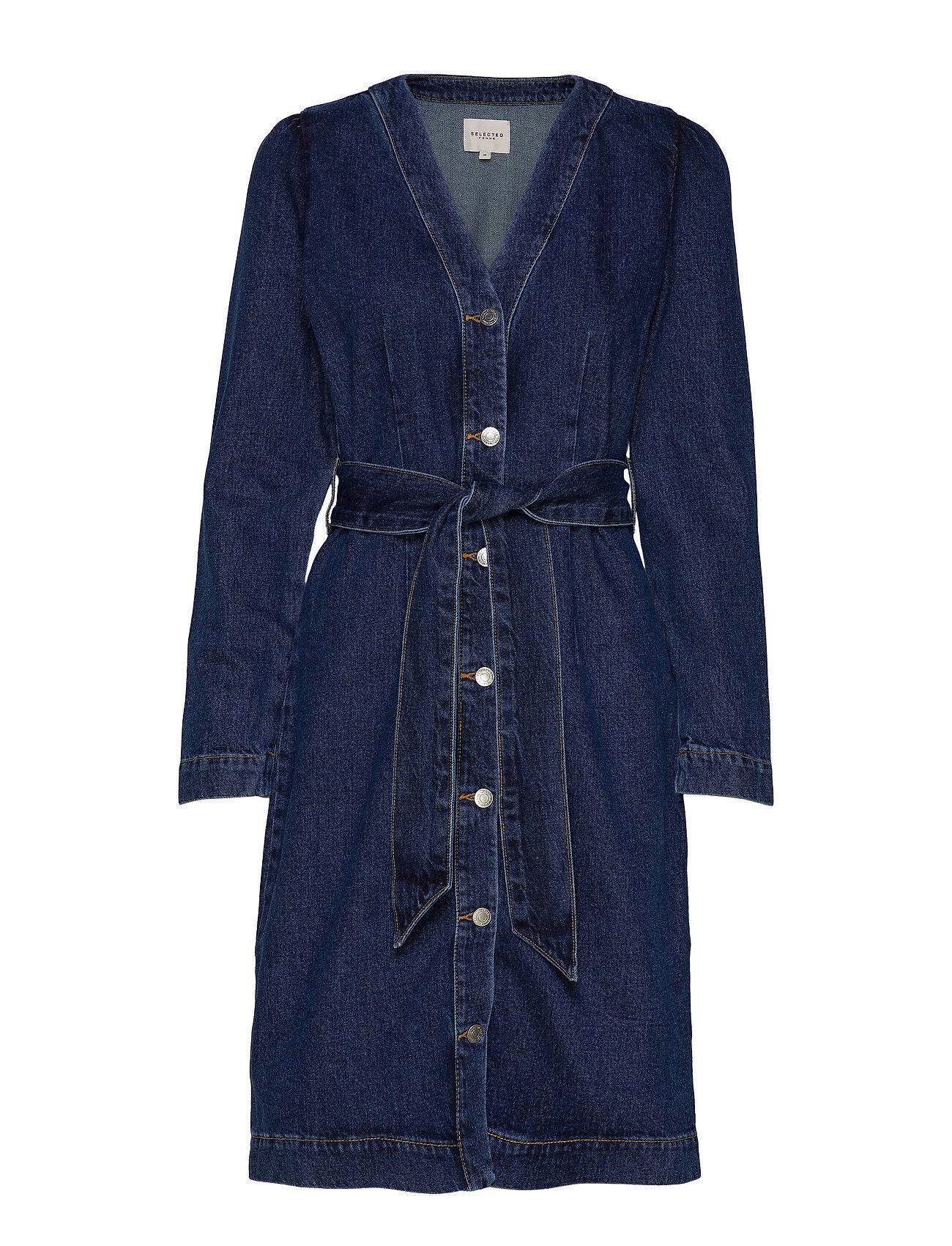 Selected Femme Slfstudios Dark Blue Denim Dress W Polvipituinen Mekko Sininen Selected Femme