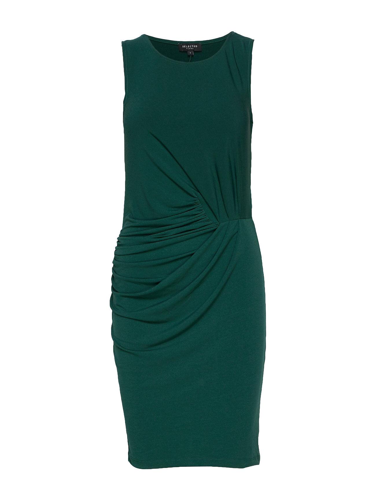 Selected Femme Slftanja-Teller Sl Dress Ex Polvipituinen Mekko Vihreä Selected Femme