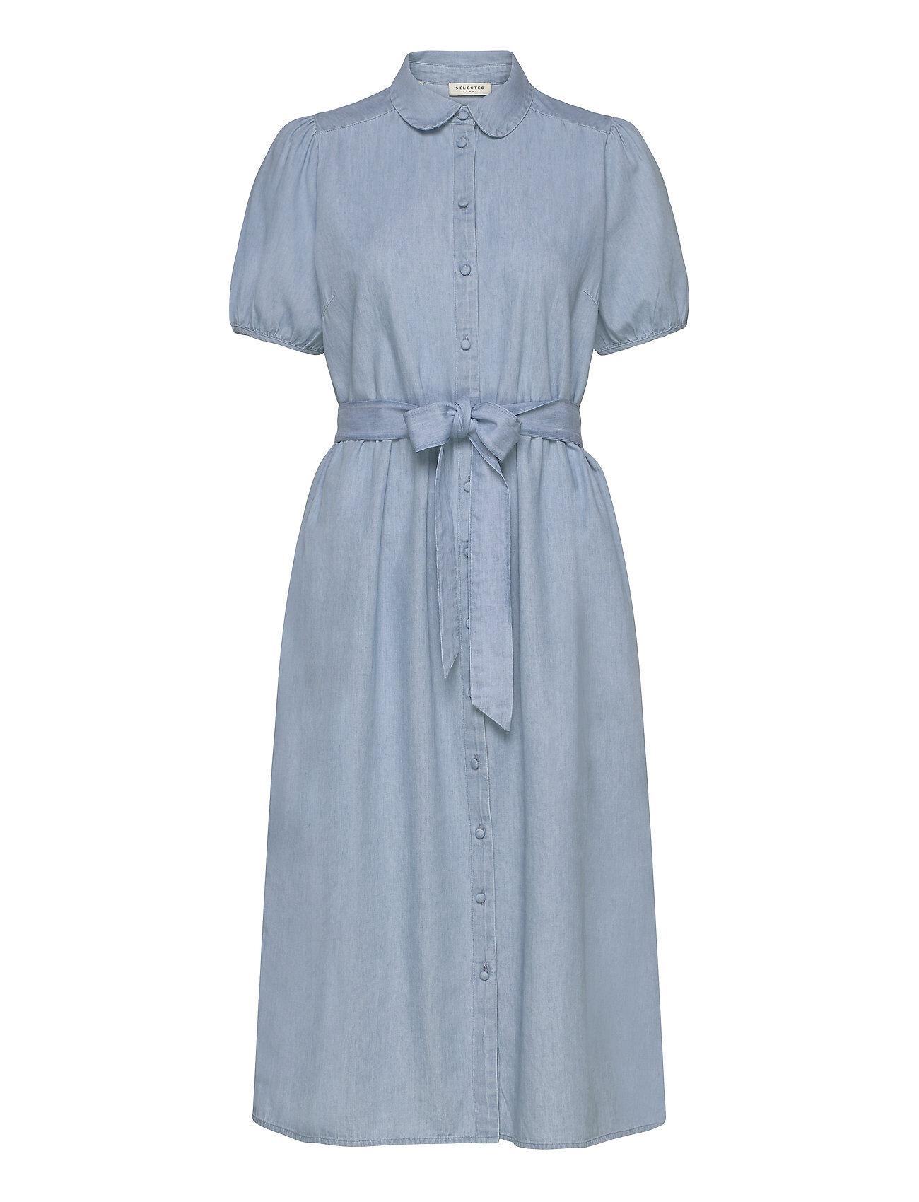 Selected Femme Slfnovo Ss Midi Dress W Polvipituinen Mekko Sininen Selected Femme