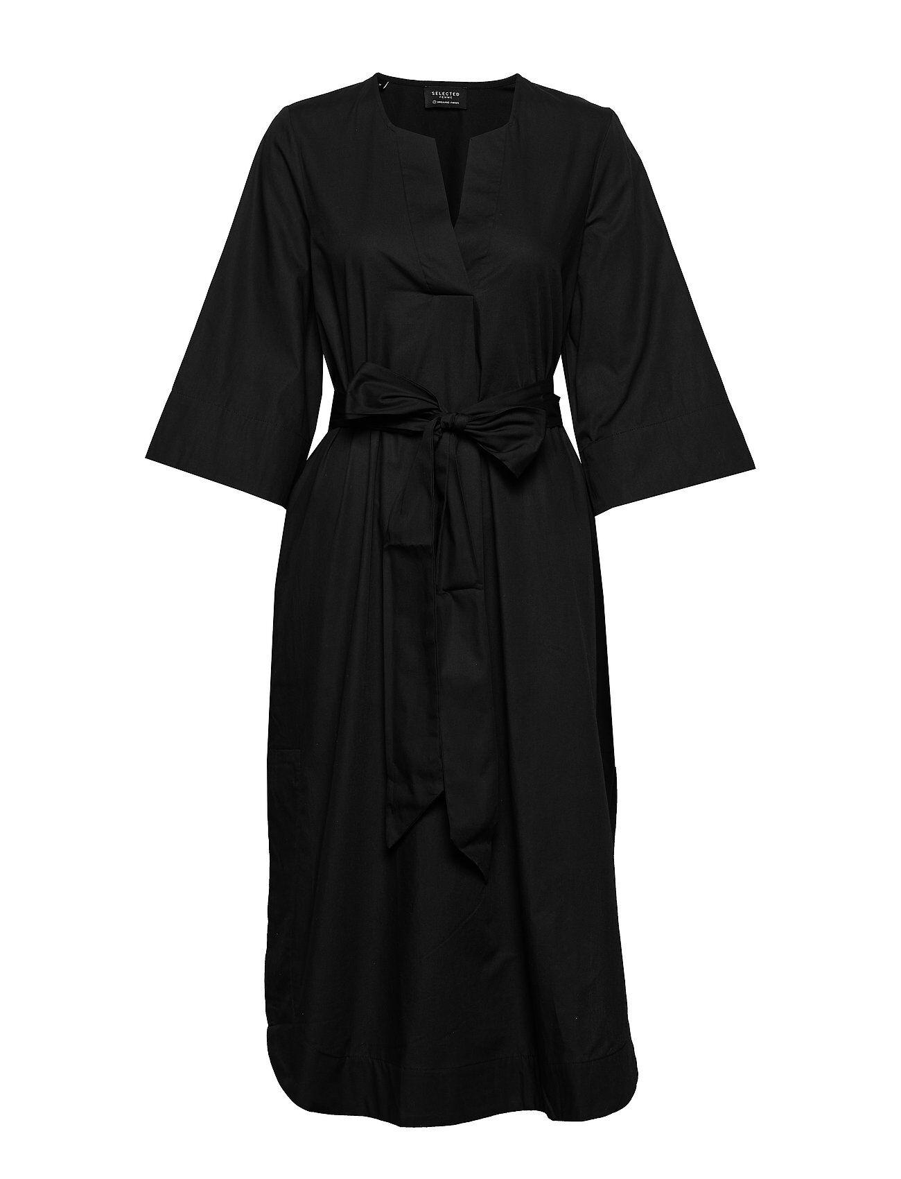 Selected Femme Slfcarlotta 3/4 Midi Kaftan Dress B Polvipituinen Mekko Musta Selected Femme