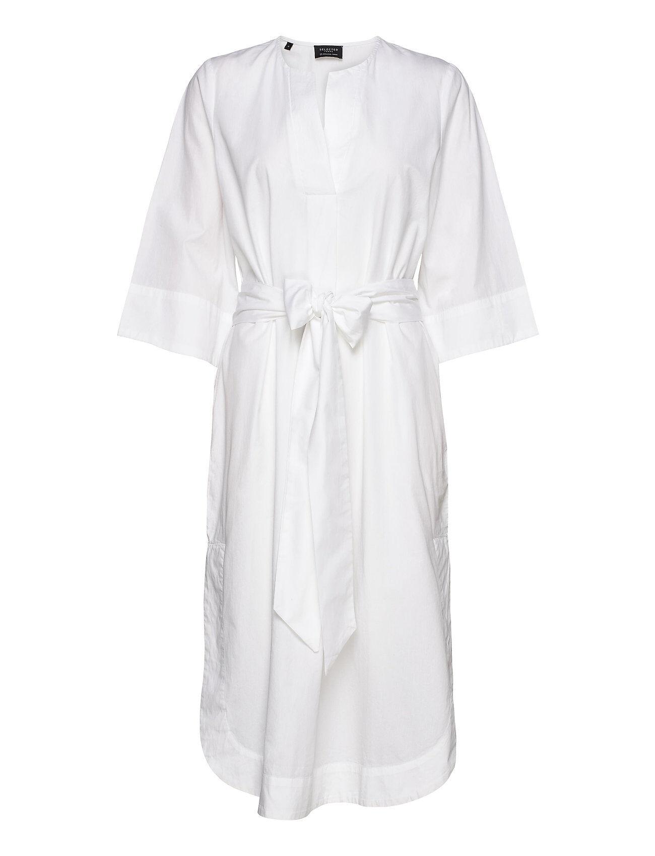 Selected Femme Slfcarlotta 3/4 Midi Kaftan Dress B Polvipituinen Mekko Valkoinen Selected Femme