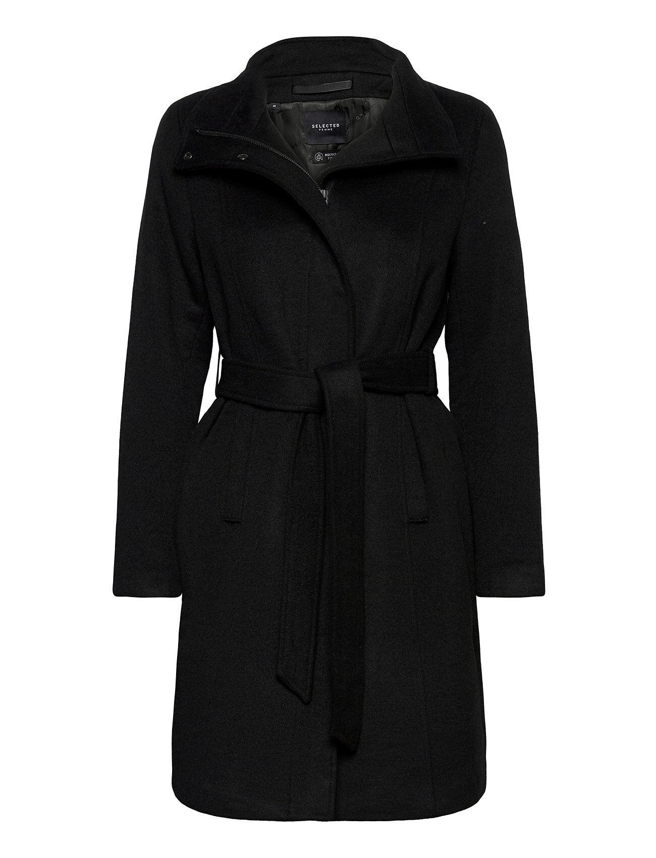 Selected Femme Slfmelanie Wool Coat B Villakangastakki Pitkä Takki Musta Selected Femme