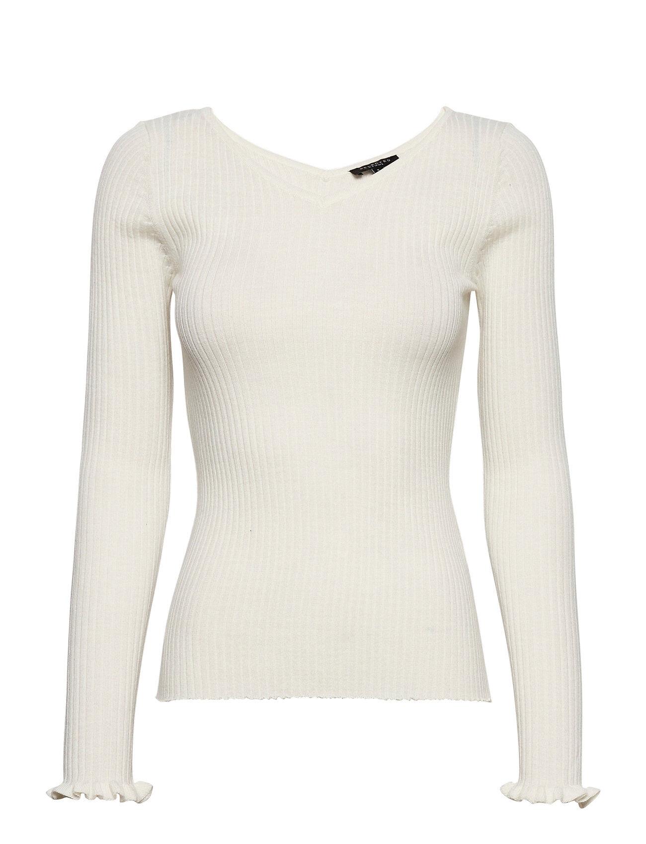 Selected Femme Slfcosta Ls Frill Knit Wide Neck B Neulepaita Valkoinen Selected Femme