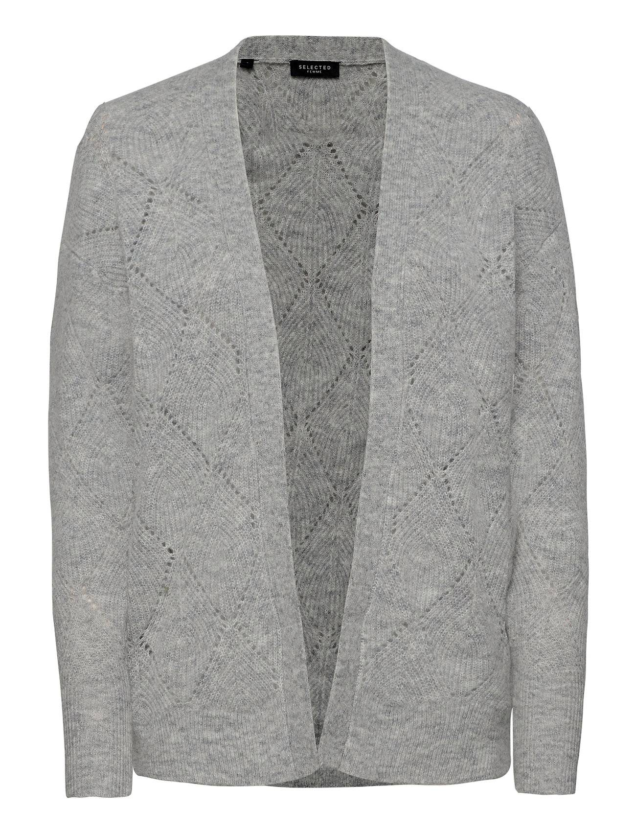 Selected Femme Slfsif Ls Structure Knit Cardigan B Neuletakki Harmaa Selected Femme