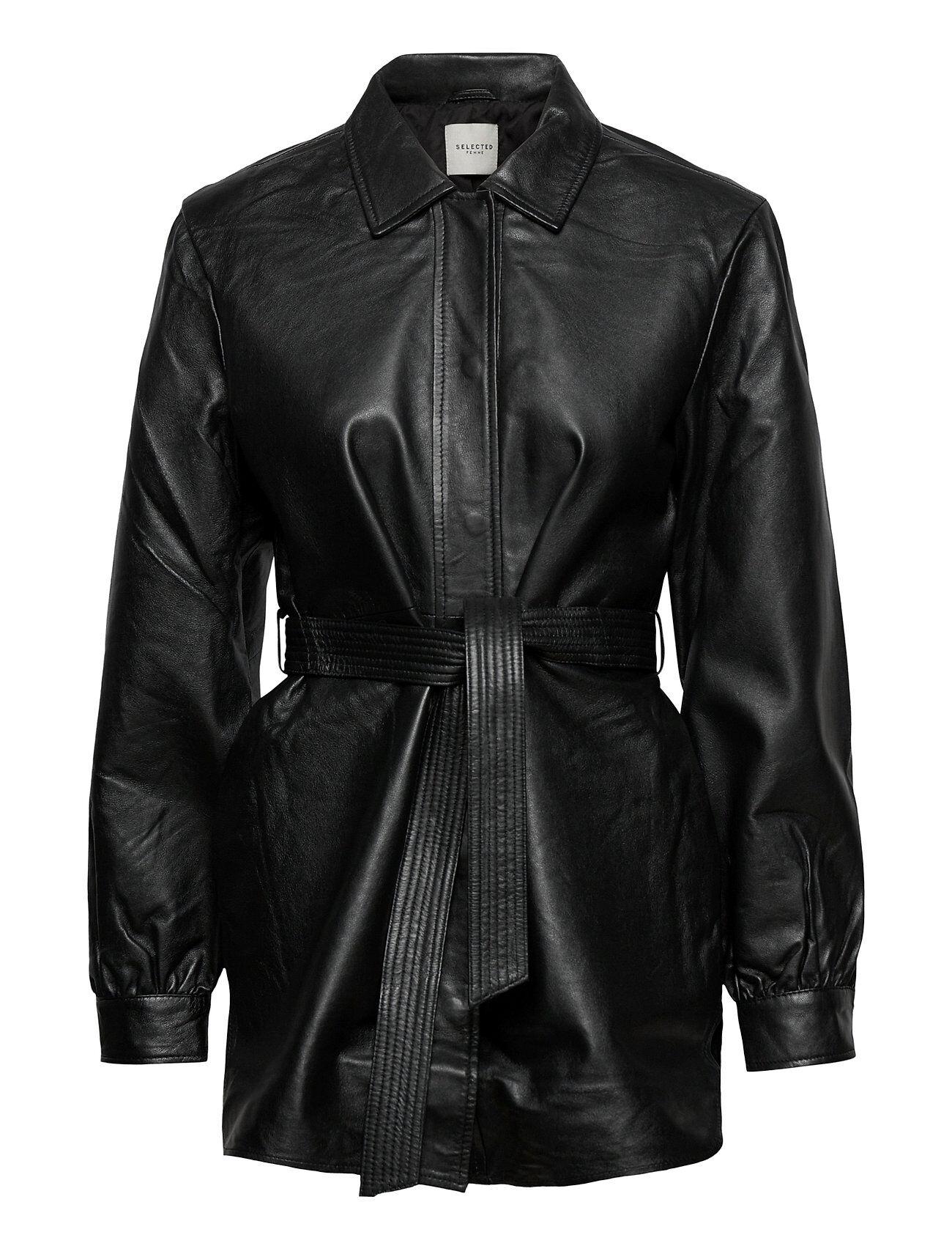 Selected Femme Slflili Ls Long Leather Shirt Jacket W Overshirts Musta Selected Femme