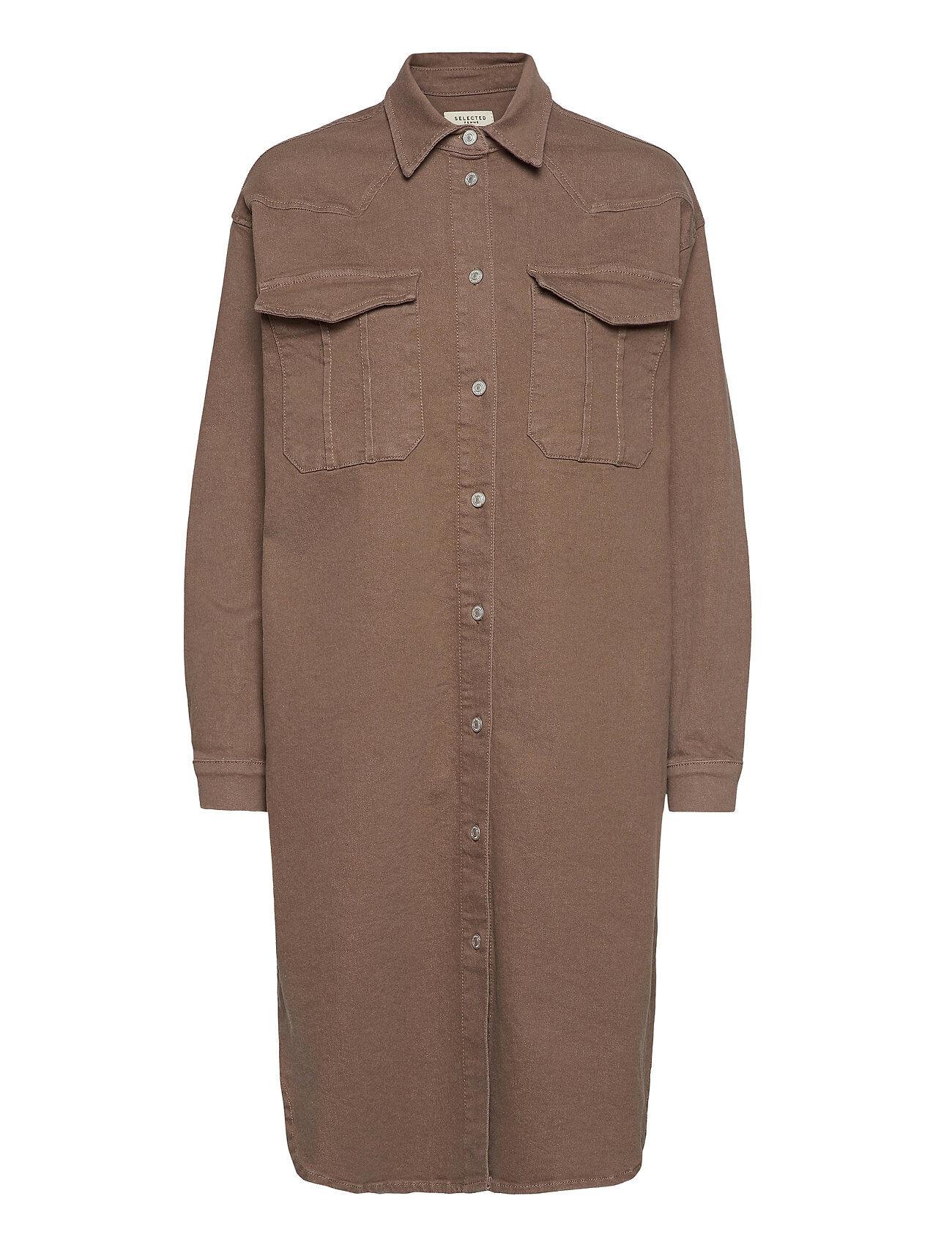 Selected Femme Slfcille Ls Camel Denim Long Shirt W Overshirts Ruskea Selected Femme
