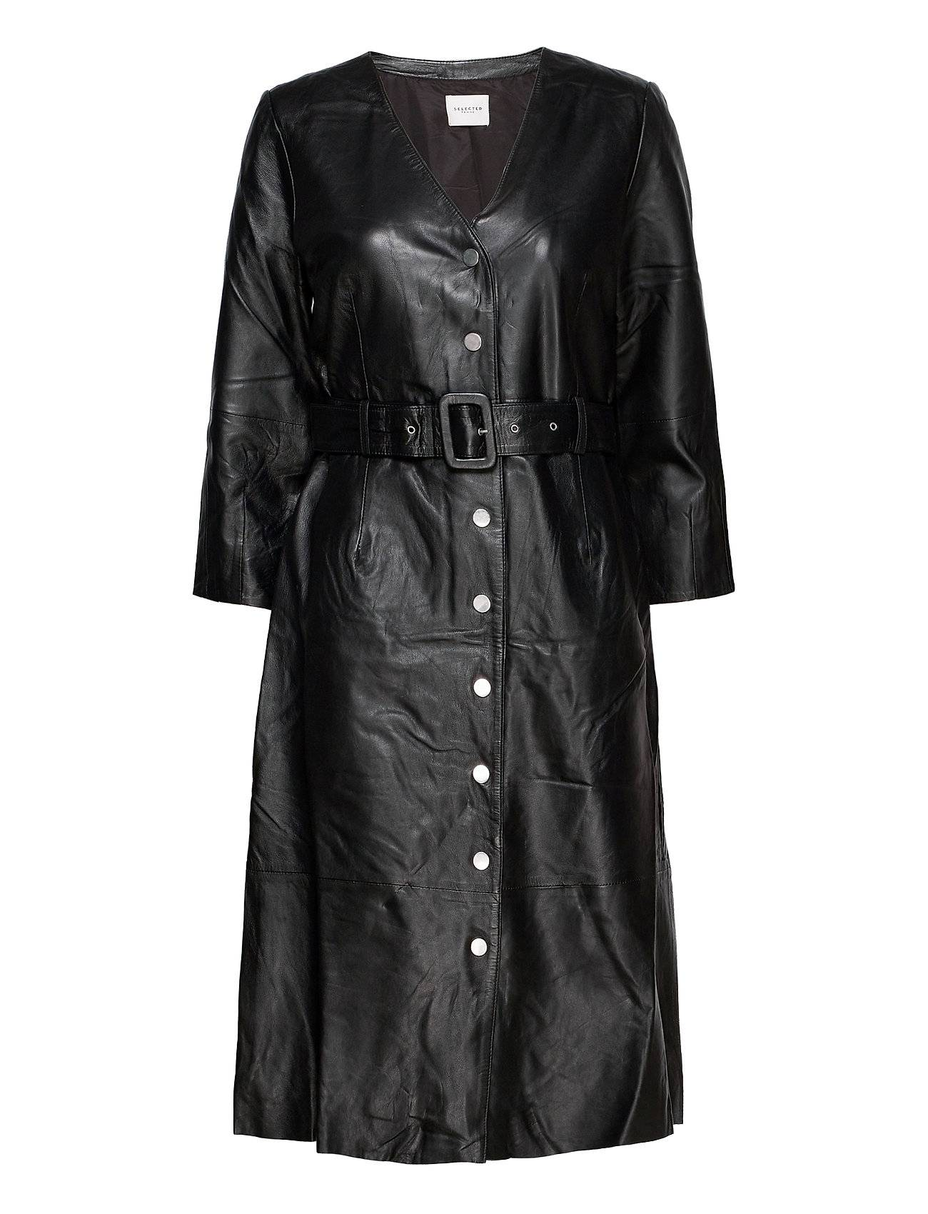 Selected Femme Slfjohanne 7/8 Leather Dress W Polvipituinen Mekko Musta Selected Femme