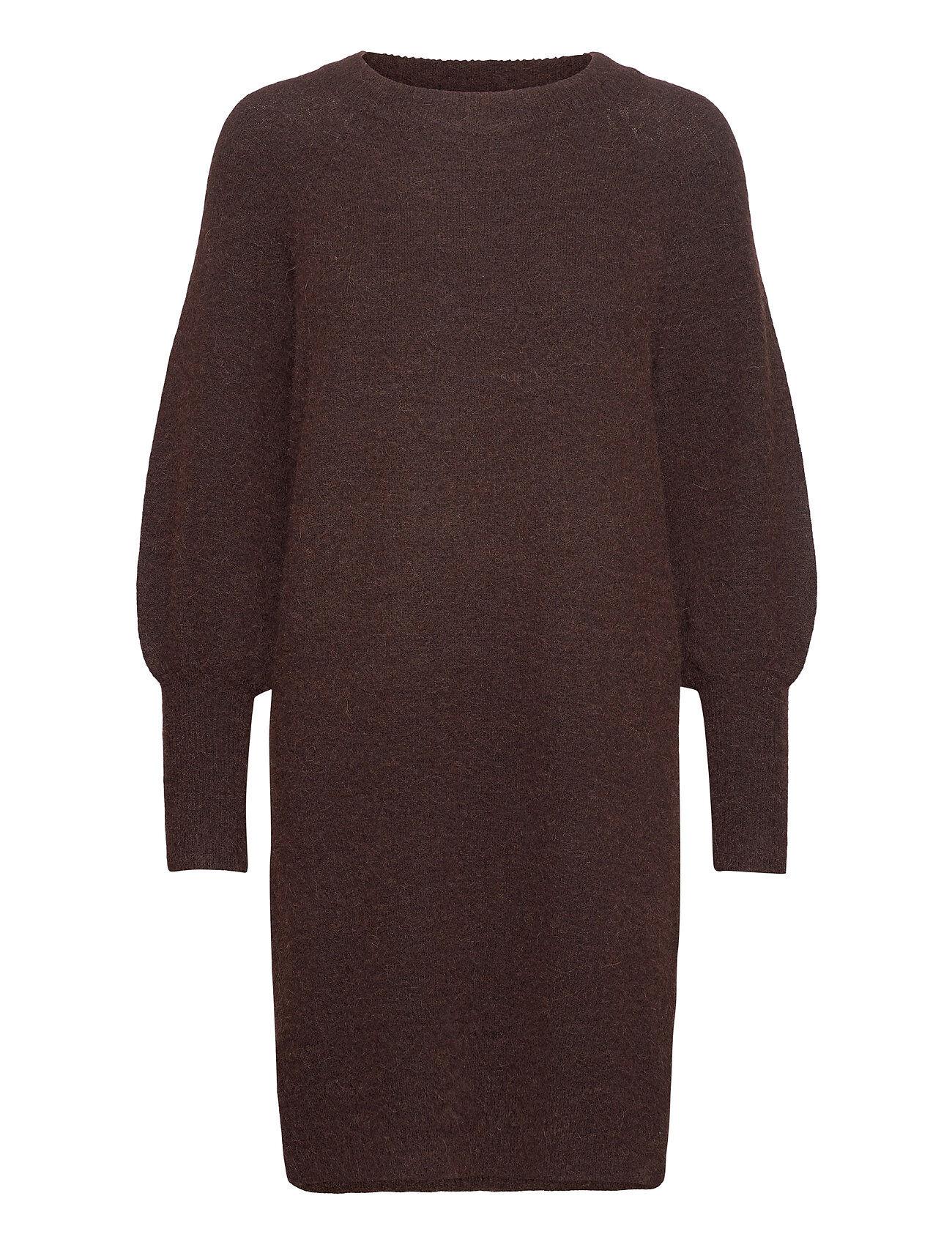 Selected Femme Slfsif Kaya Ls Knit Dress O-Neck B Neulepaita Ruskea Selected Femme