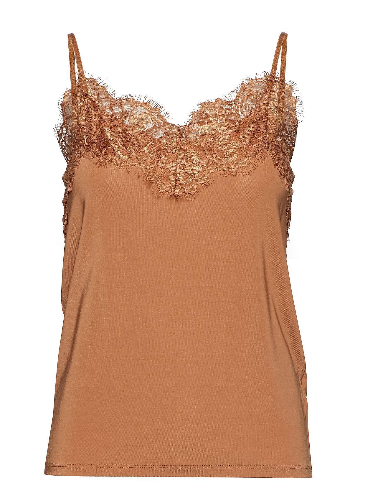 Soaked in Luxury Slclara Singlet T-shirts & Tops Sleeveless Ruskea Soaked In Luxury