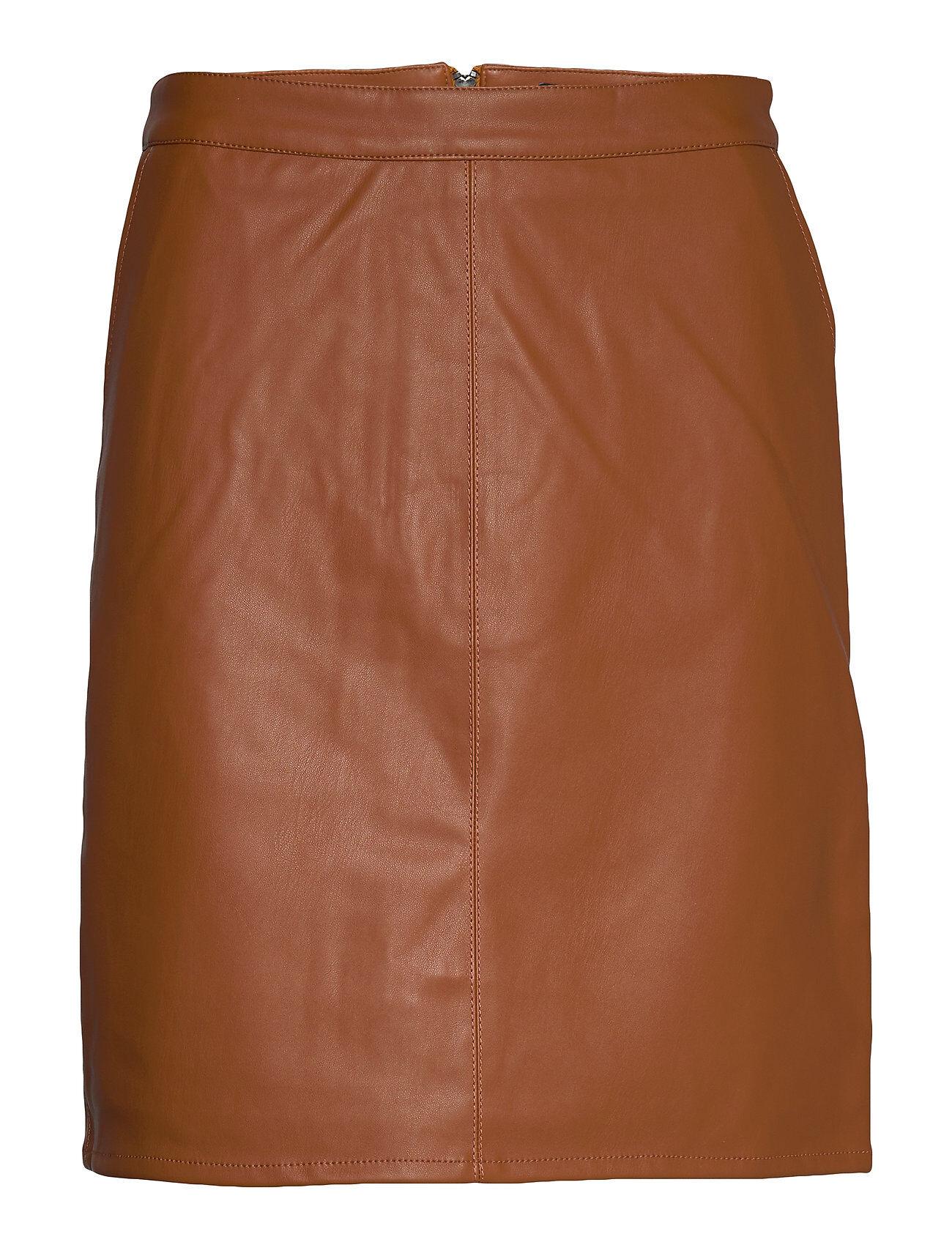 Soaked in Luxury Sl Tamara Pu Skirt Lyhyt Hame Ruskea Soaked In Luxury