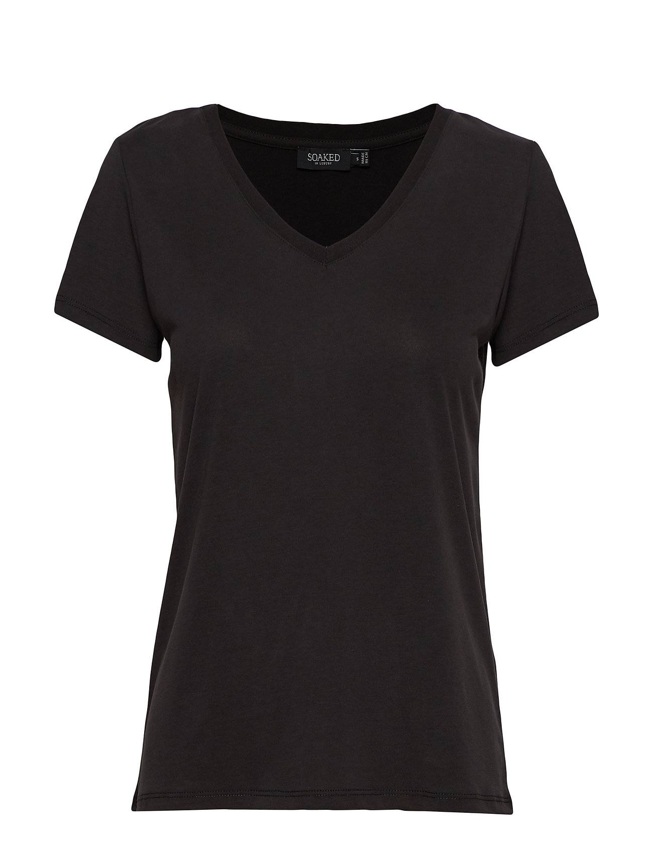 Soaked in Luxury Sl Columbine V-Neck Ss T-shirts & Tops Short-sleeved Musta Soaked In Luxury