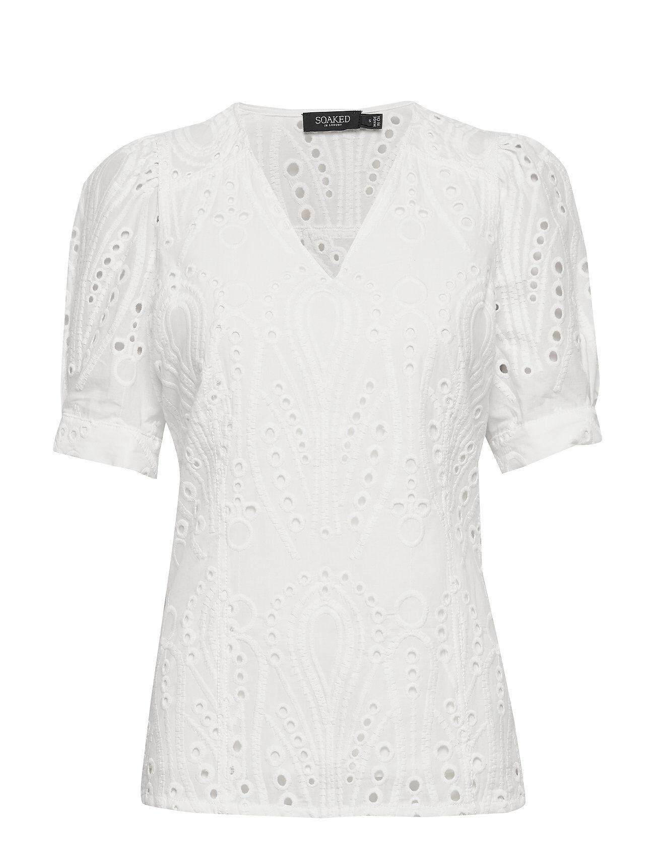 Soaked in Luxury Slnolah Top Ss Blouses Short-sleeved Valkoinen Soaked In Luxury