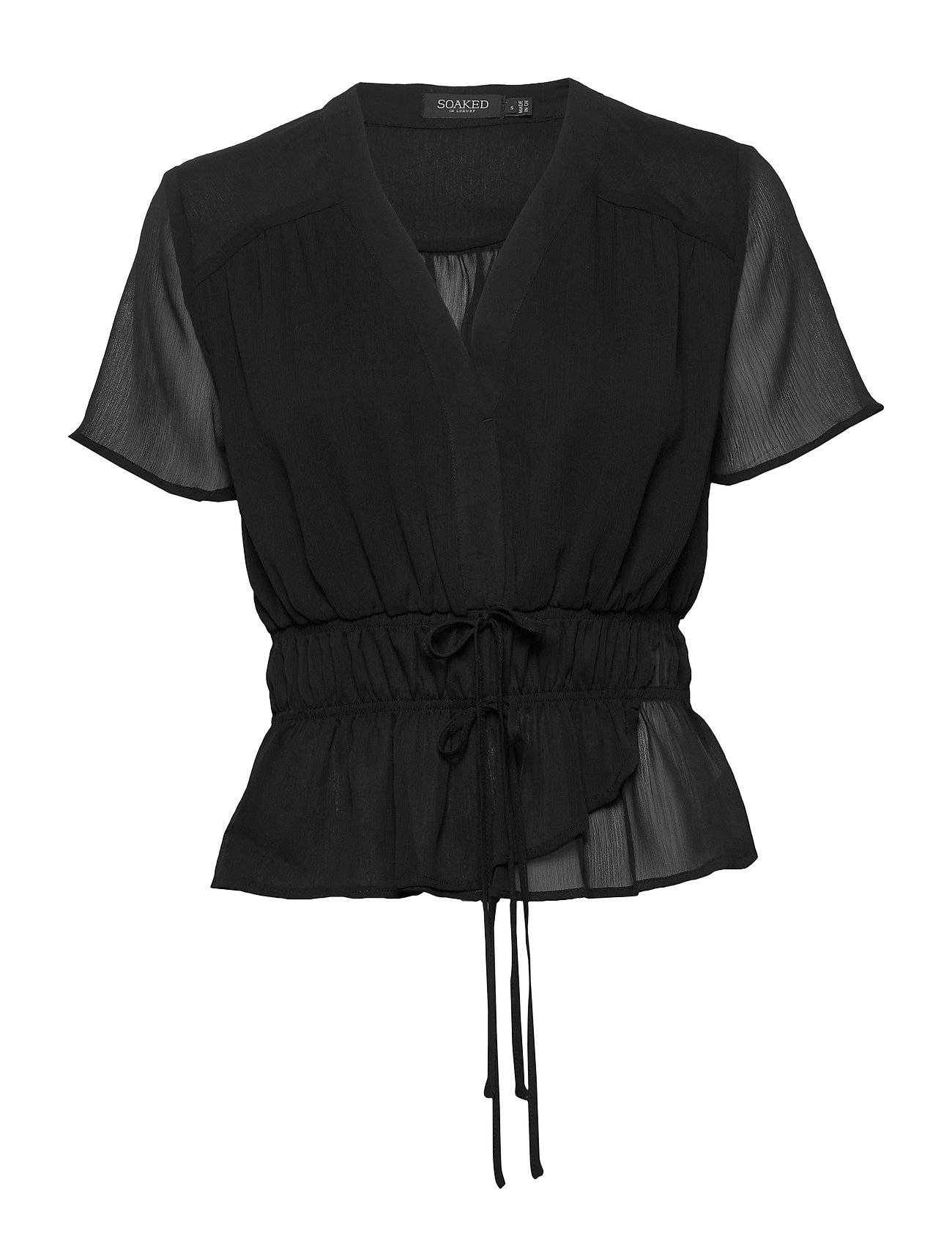 Soaked in Luxury Sldafni Blouse Ss Blouses Short-sleeved Musta Soaked In Luxury