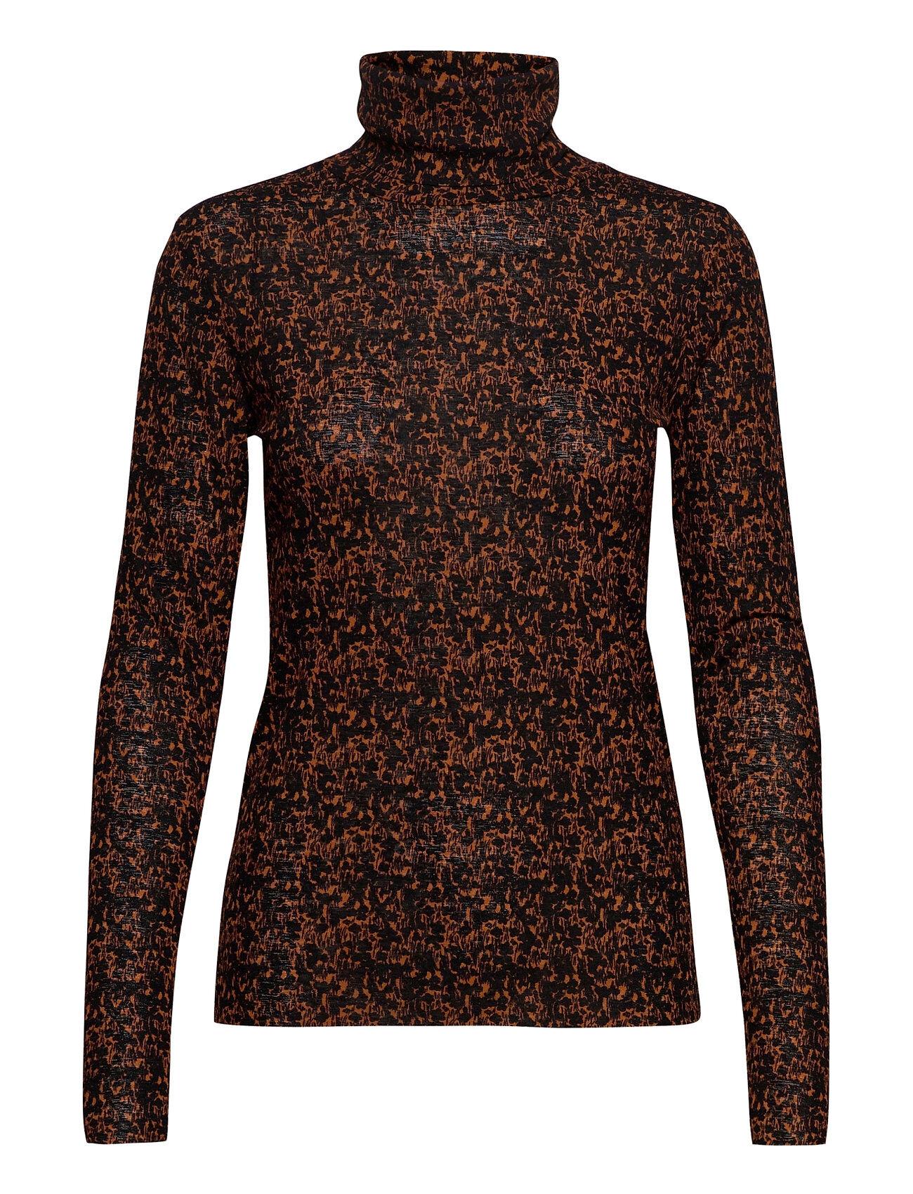Soaked in Luxury Slangela Flower T-Shirt Ls T-shirts & Tops Long-sleeved Musta Soaked In Luxury