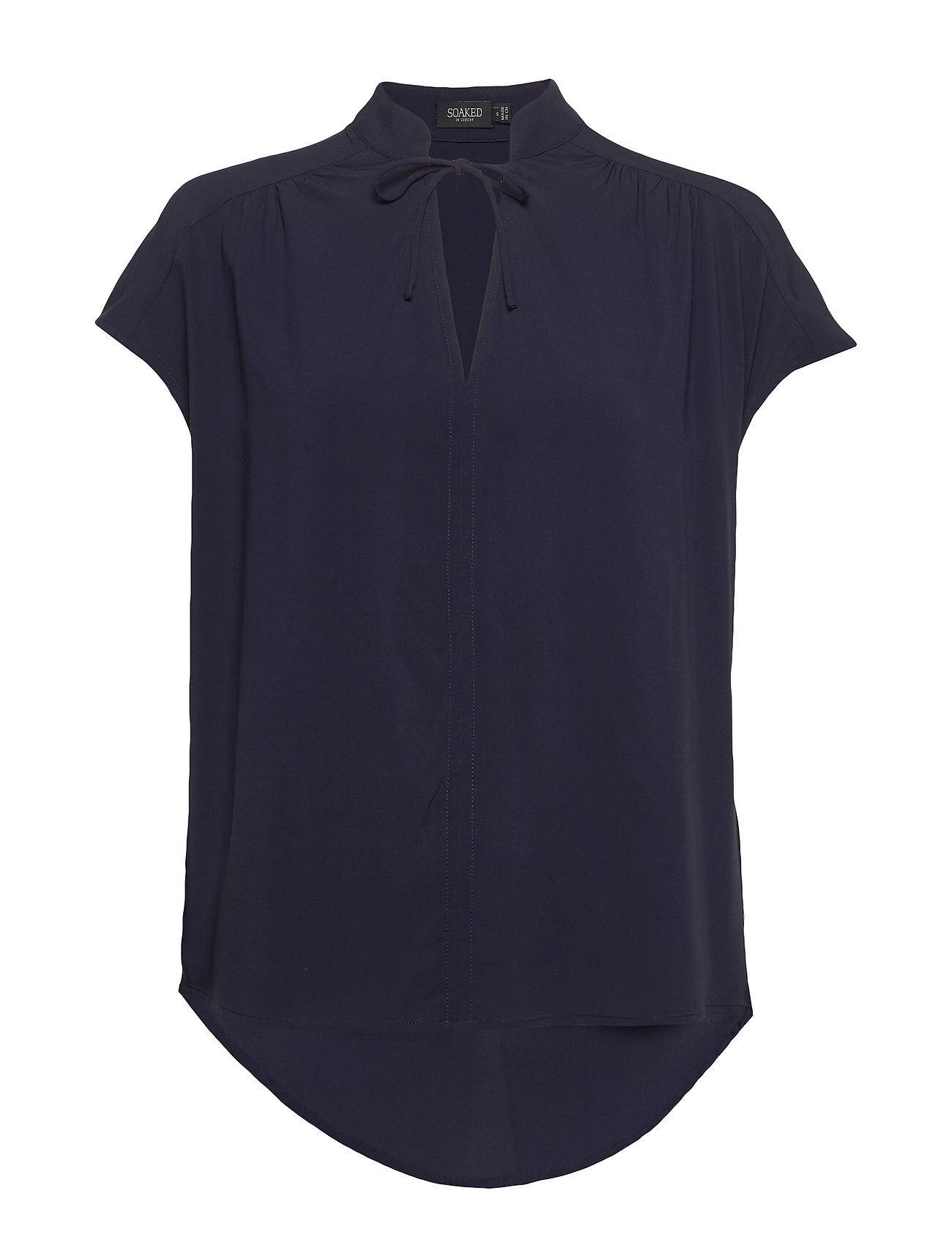Soaked in Luxury Slcanelle Rafina Top Blouses Short-sleeved Sininen Soaked In Luxury