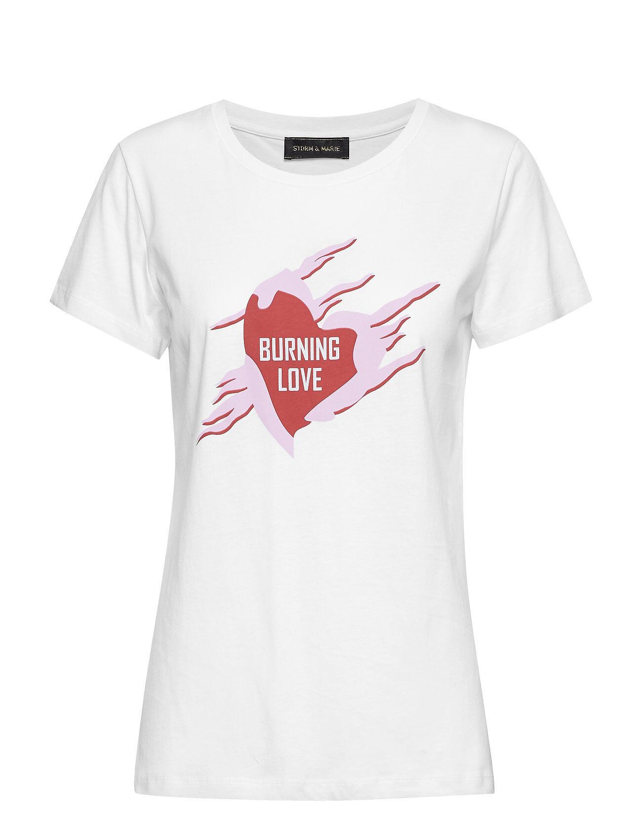 STORM & MARIE Burning-Tee T-shirts & Tops Short-sleeved Valkoinen STORM & MARIE