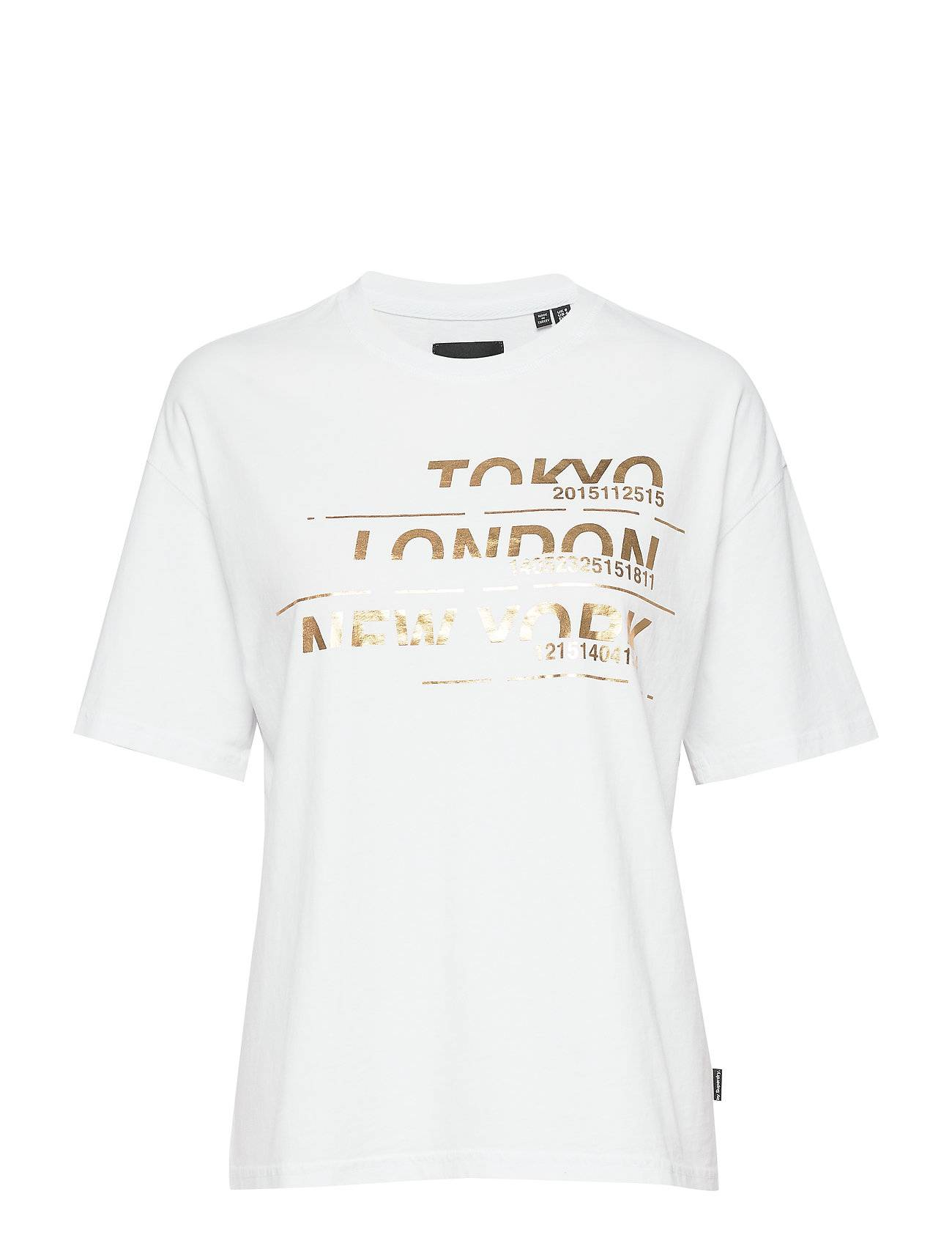 Superdry Brand Language City Box Fit Tee T-shirts & Tops Short-sleeved Valkoinen Superdry
