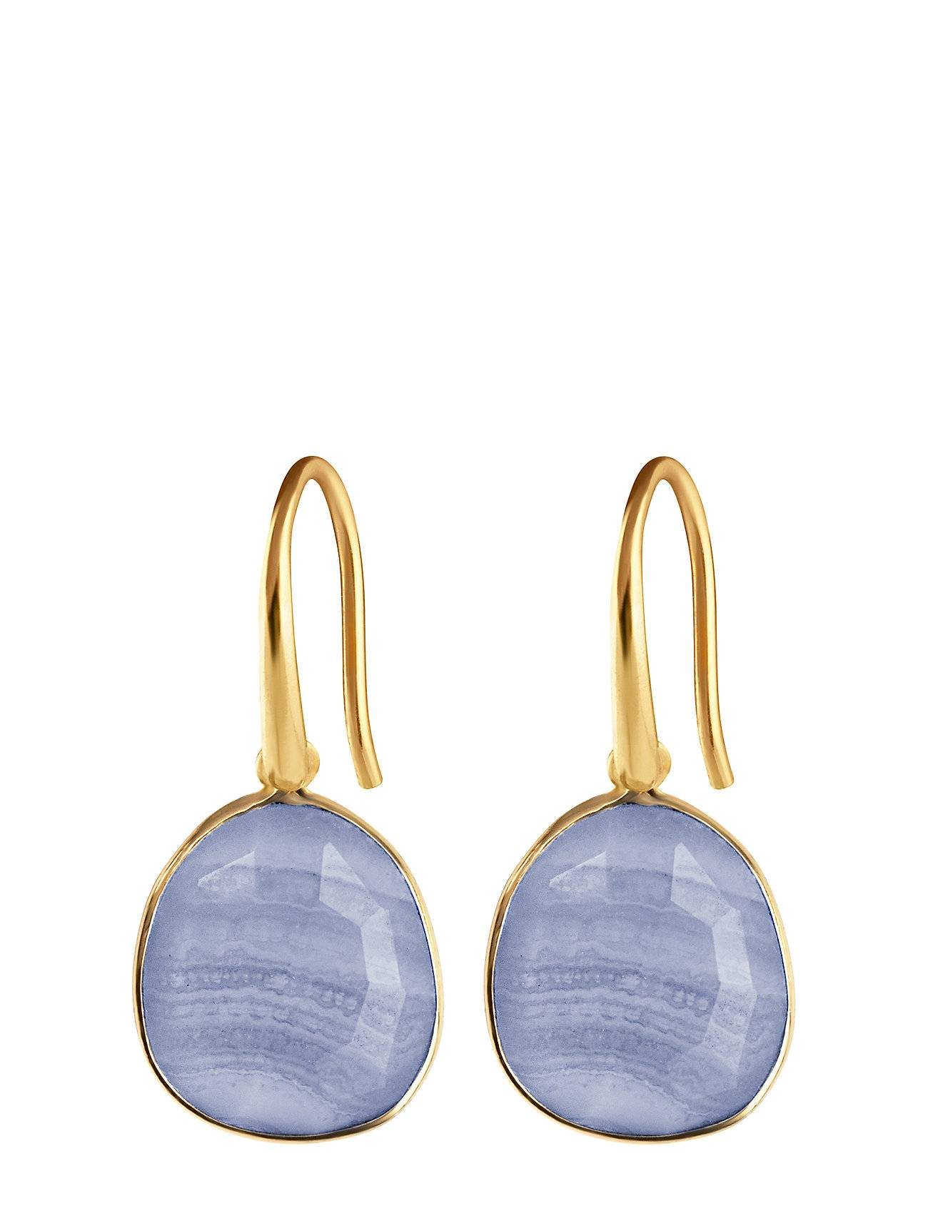 Syster P Glam Glam Earrings Gold, Blue Lace Agate