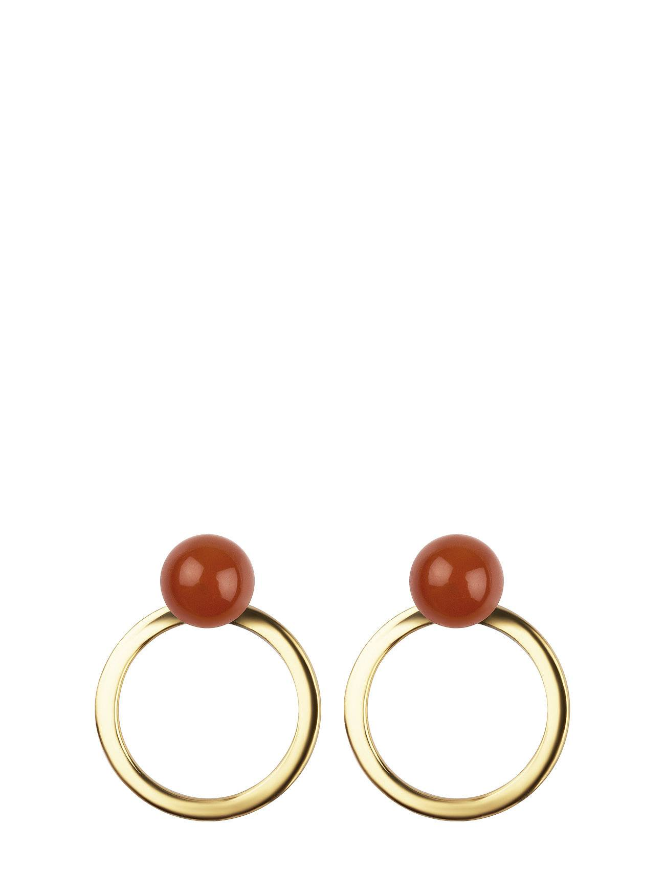 Syster P Planet Earrings Gold Red Onyx