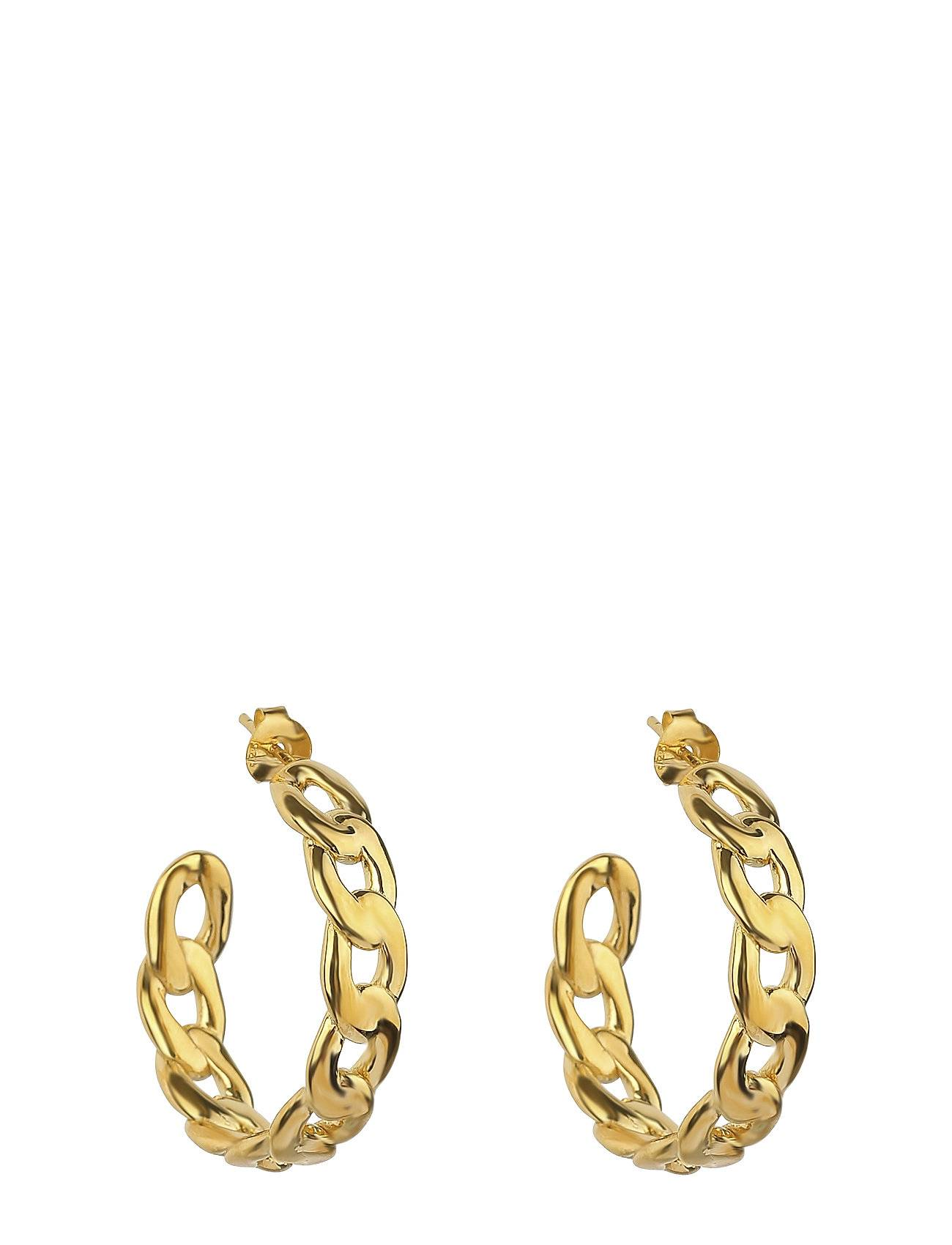 Syster P Links Curb Chain Hoops Gold Accessories Jewellery Earrings Hoops Kulta Syster P
