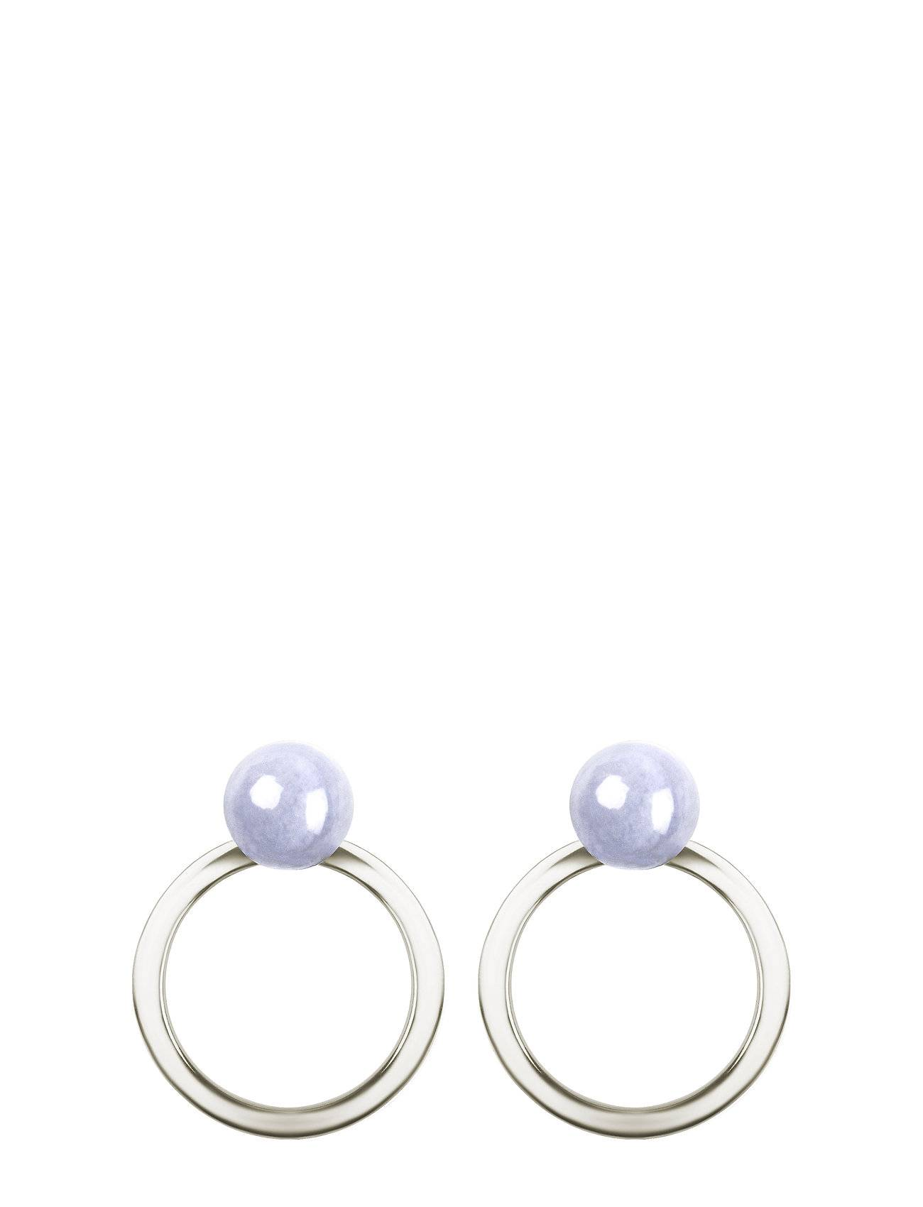 Syster P Planet Earrings Silver Blue Lace