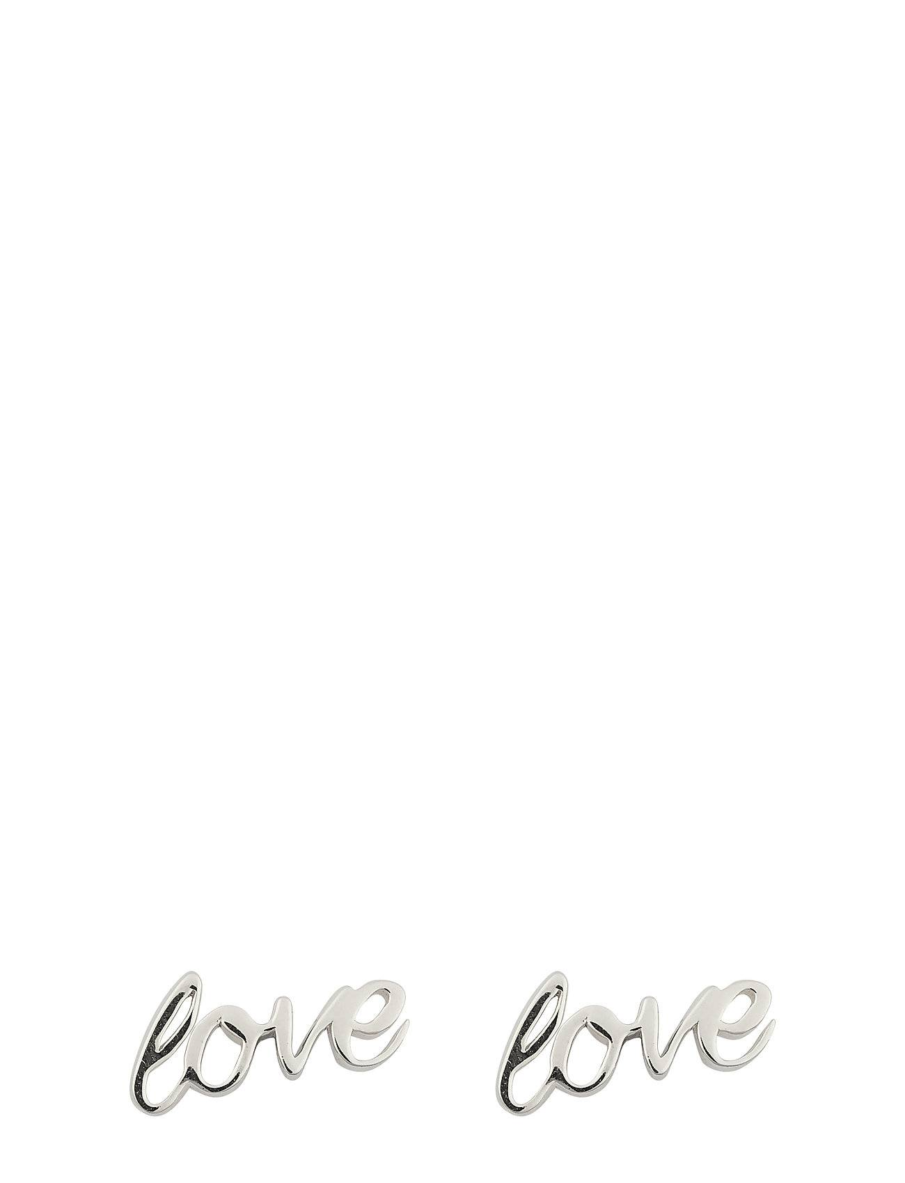 Syster P Snap Earrings Love Silver