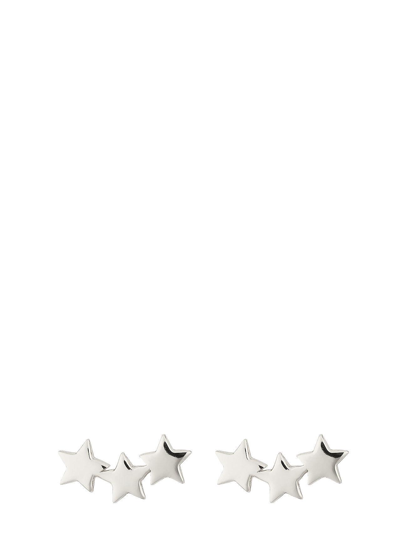 Syster P Snap Earrings Triple Star Plain Silver