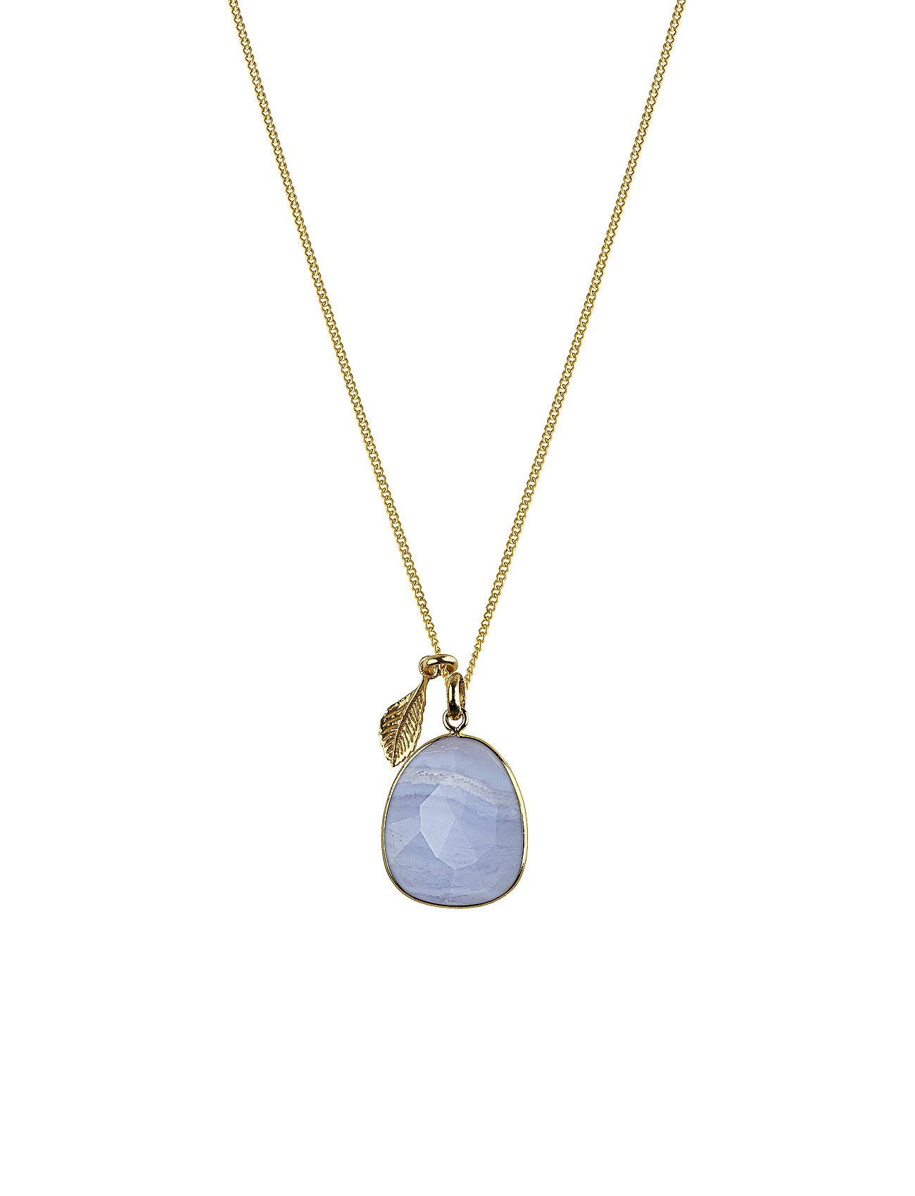 Syster P Glam Glam Necklace Gold, Blue Lace Agate