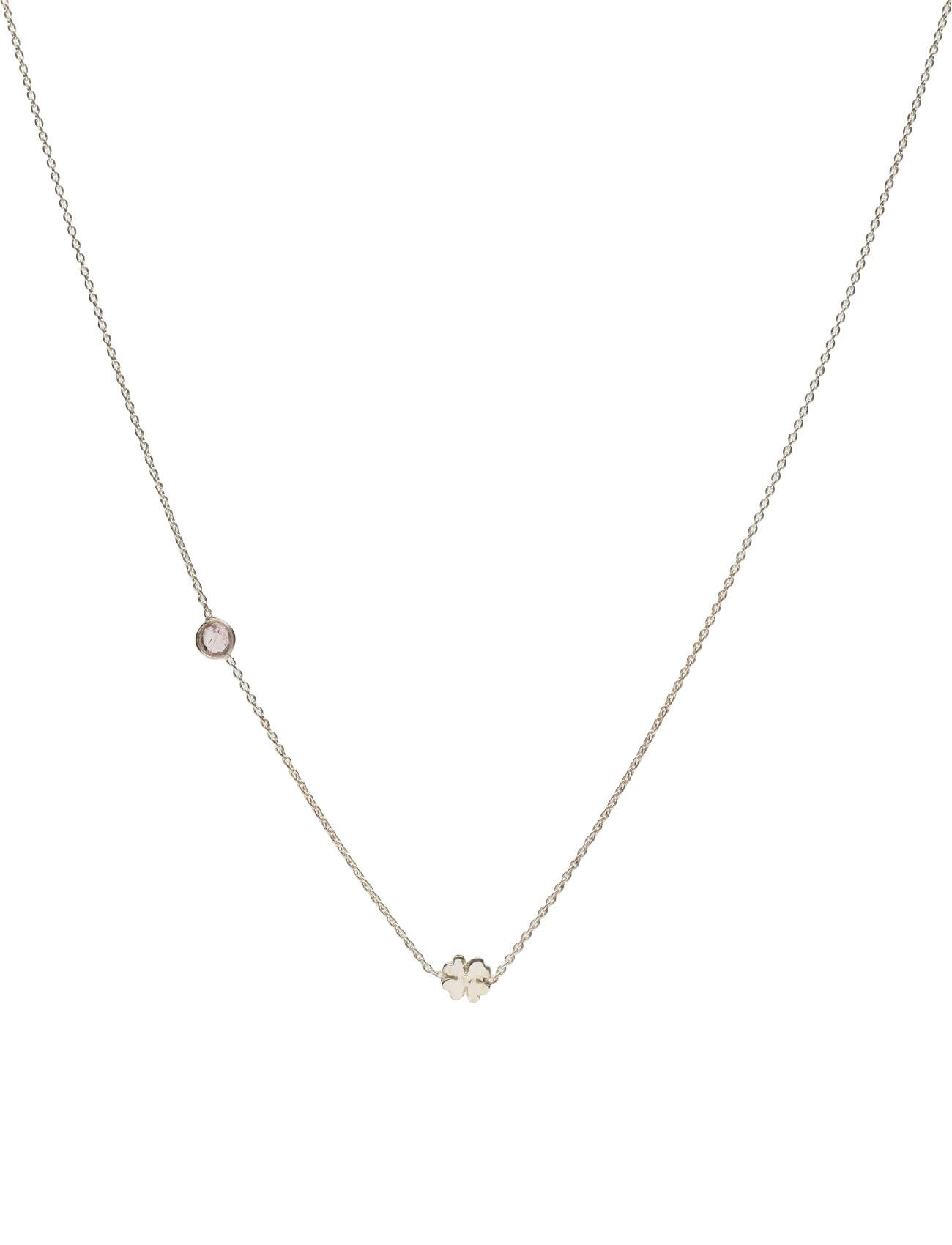Syster P Sparkle Necklace Silver Clover Pink Tourmaline