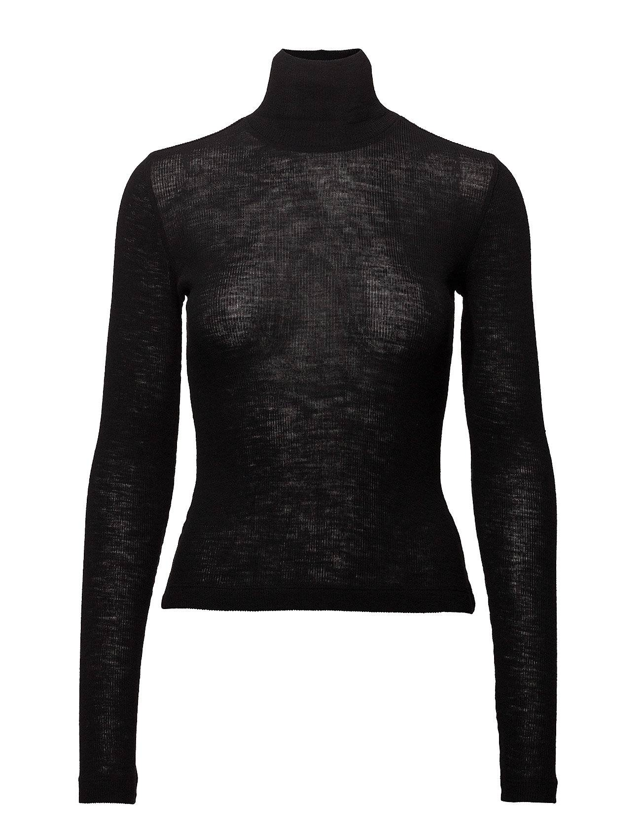 T by Alexander Wang Sheer Wooly Rib L/S Fitted Turtleneck