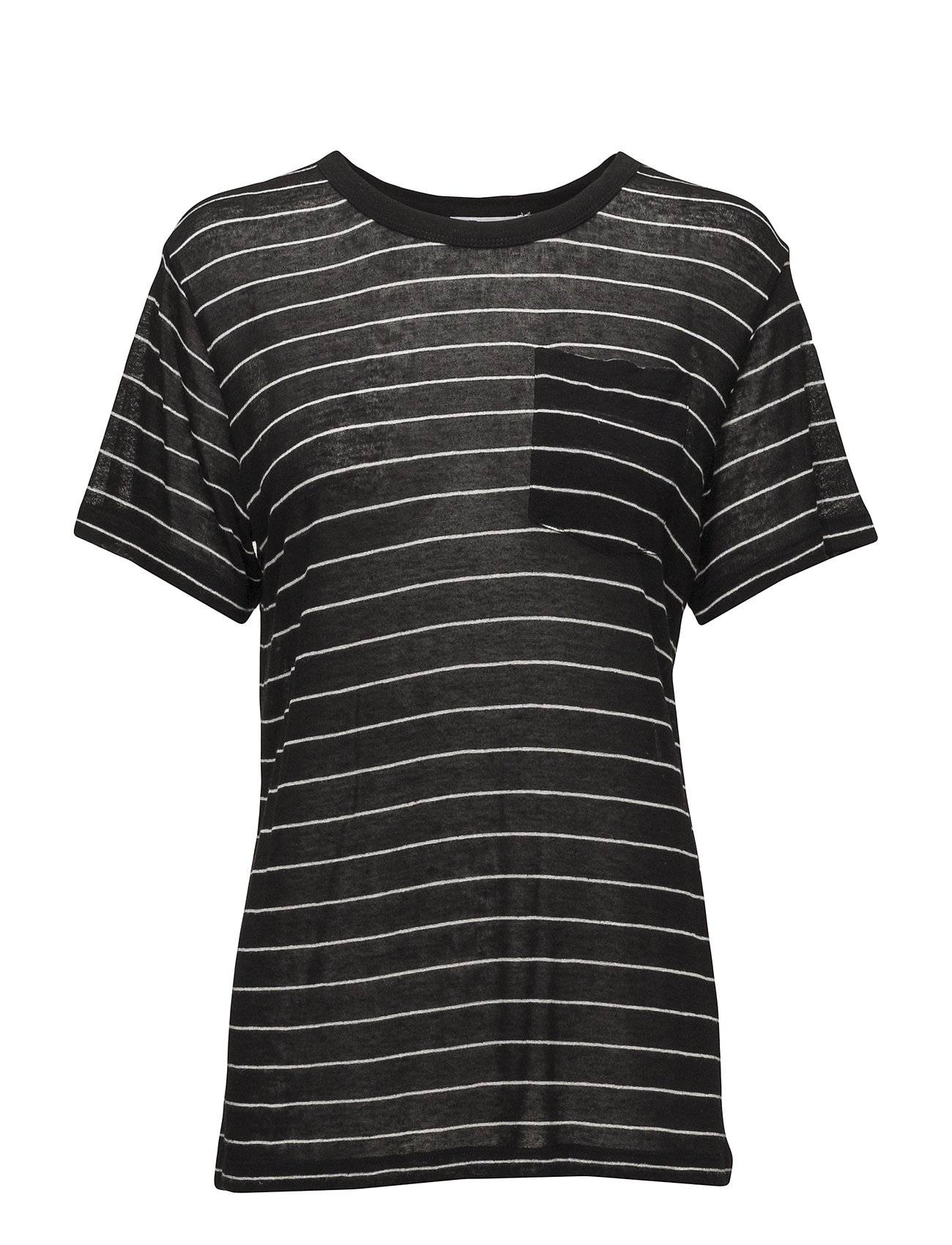 T by Alexander Wang Striped Slub Jersey S/S Tee With Pocket