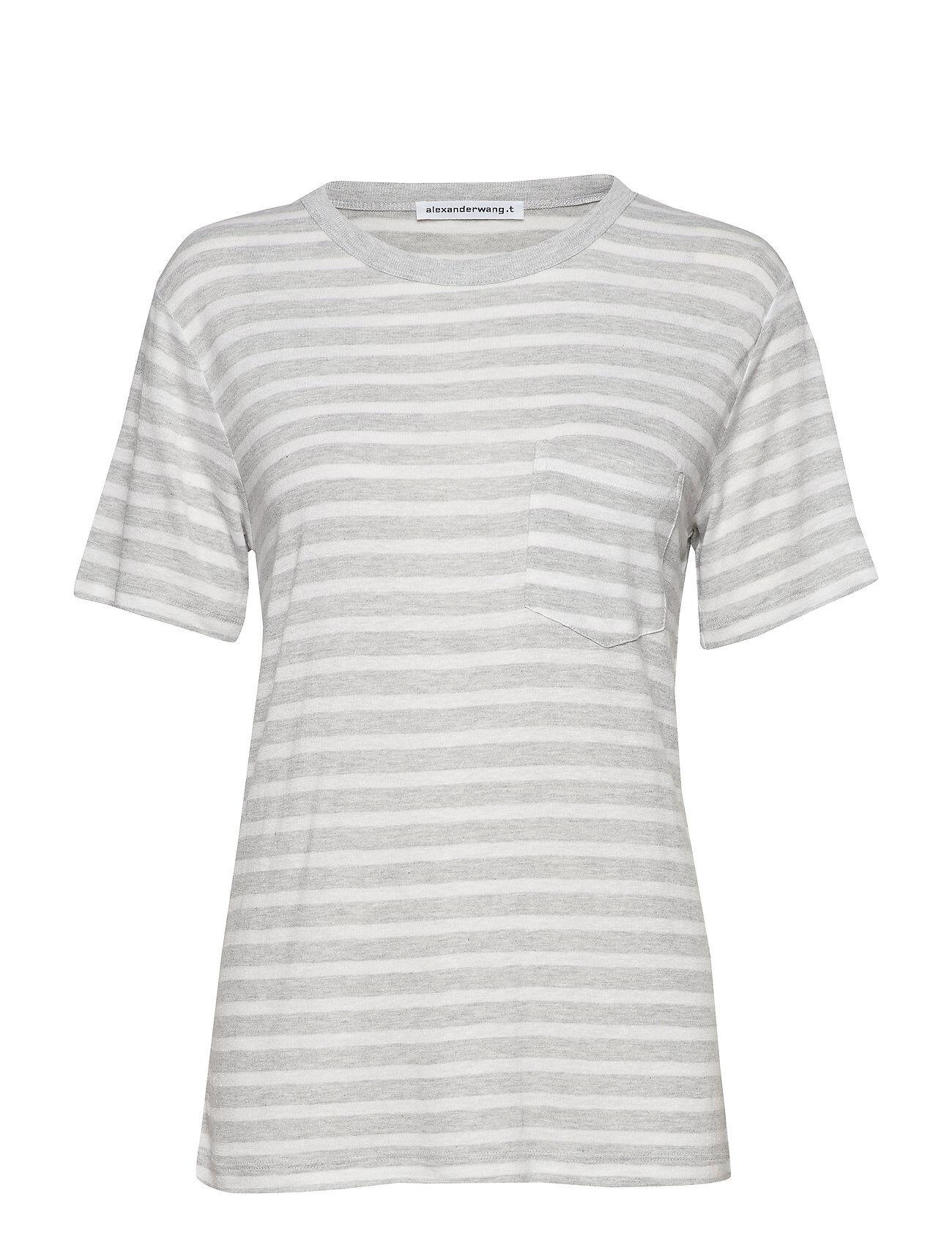 T by Alexander Wang Wide Striped Slub Jersey S/S Tee W/ Pocket