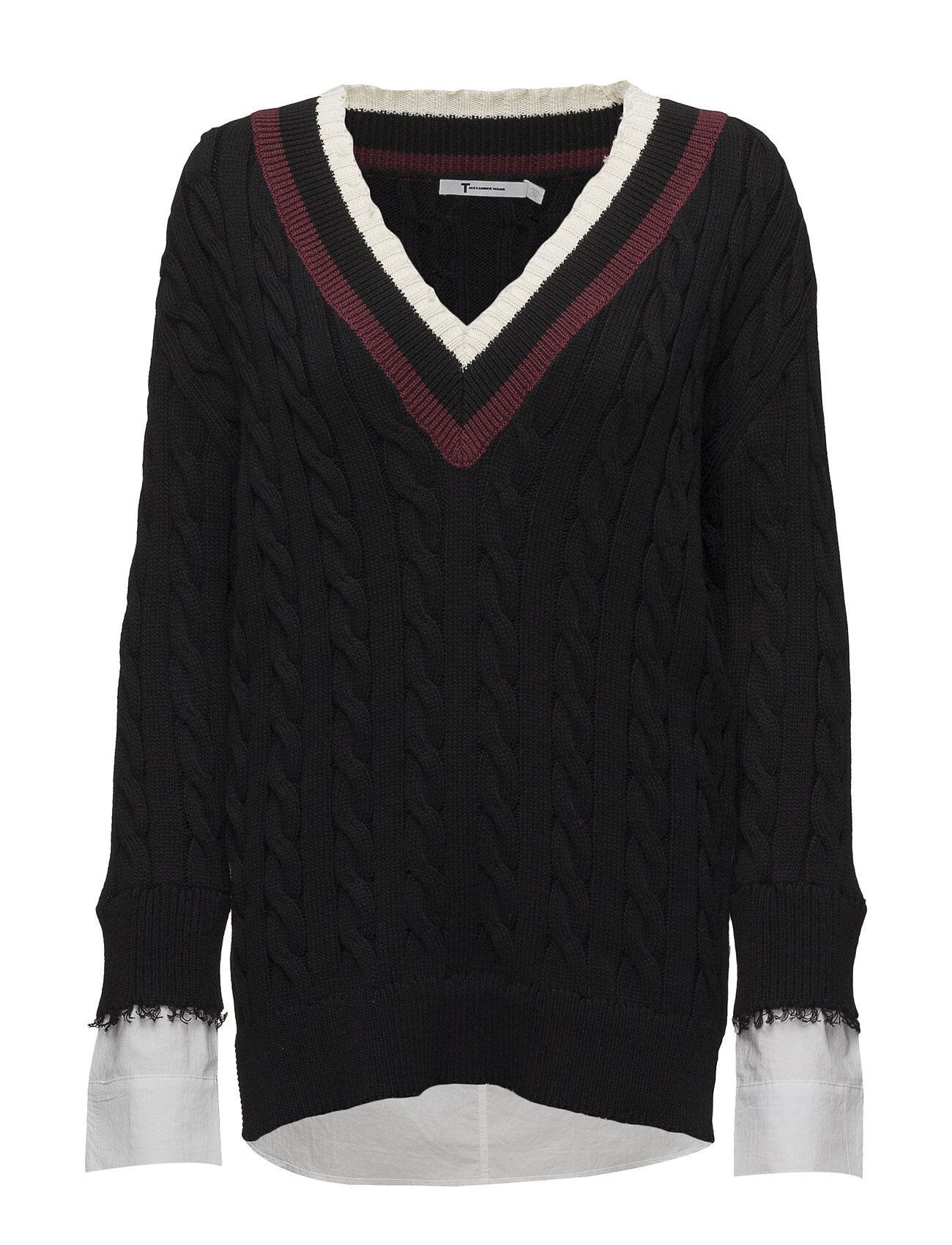T by Alexander Wang Hybrid Meets Varsity Pullover W/ Poplin Combo
