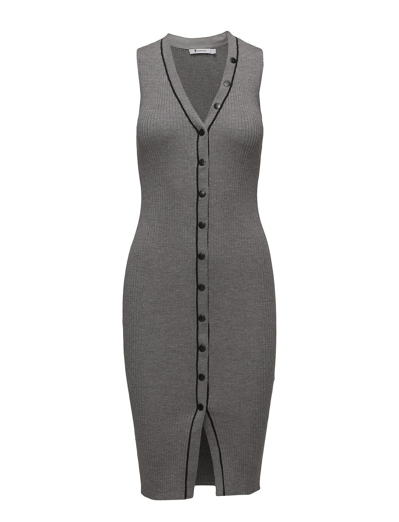 T by Alexander Wang Skinny Rib Sleeveless Dress W/ Snap Detail