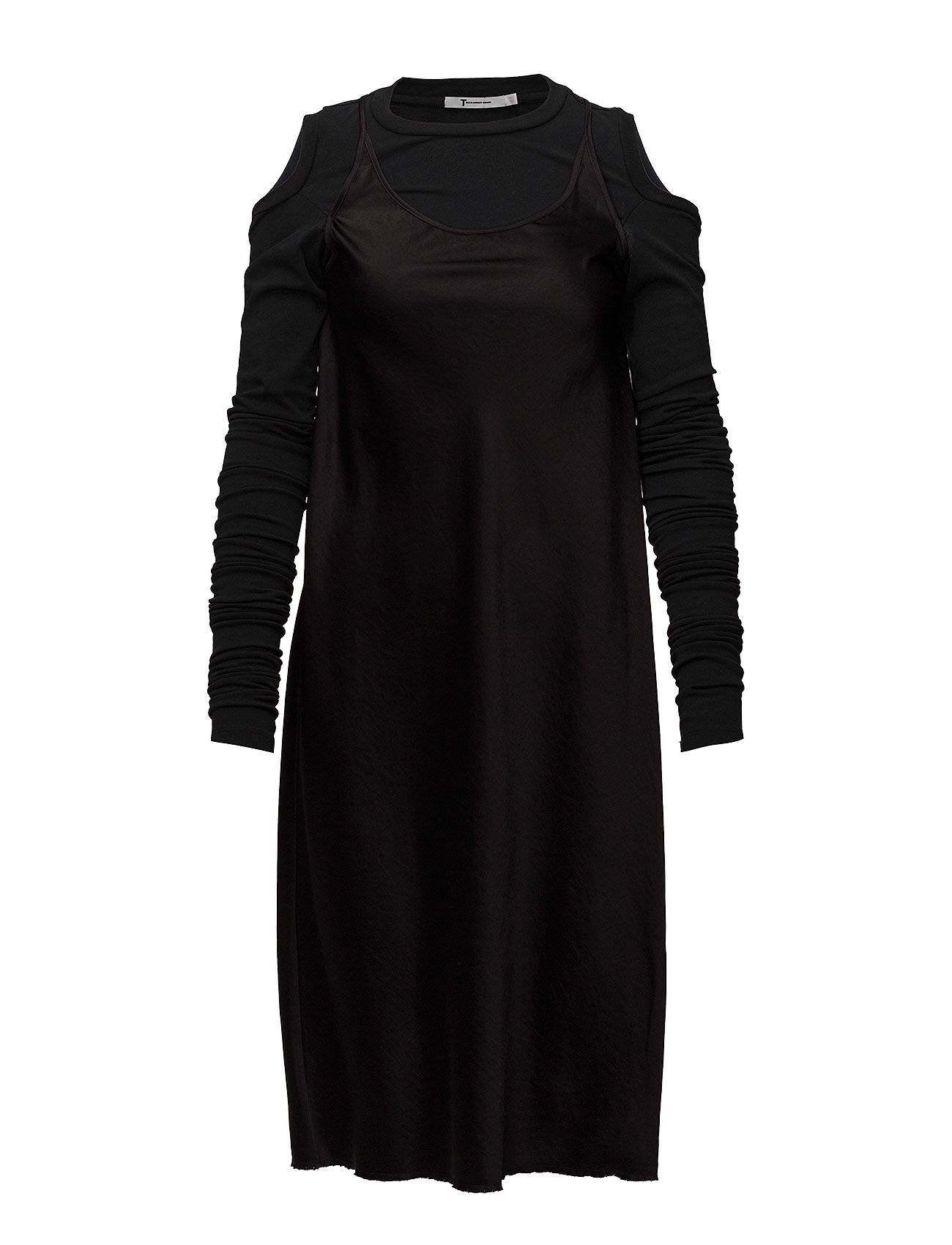 T by Alexander Wang Woven Dress With Wrap Jersey Combo