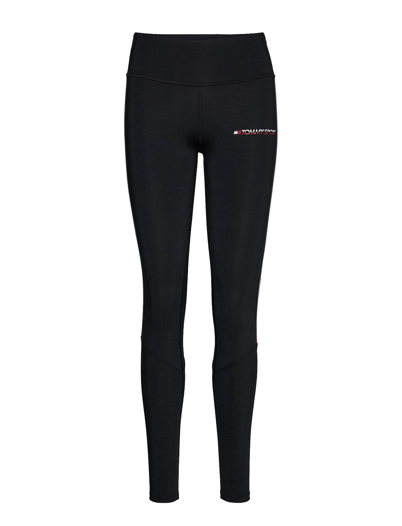 Image of Tommy Sport Legging Full Length With Tape Running/training Tights Musta Tommy Sport